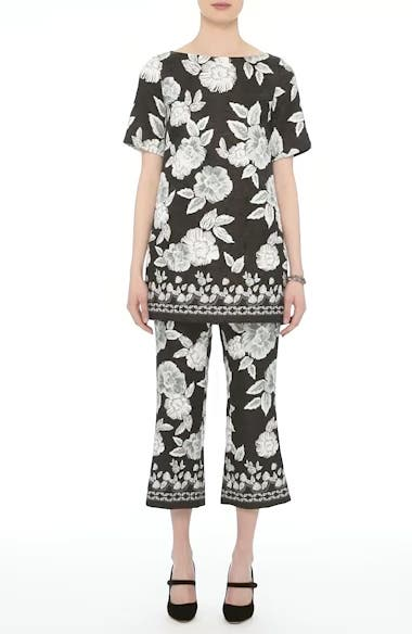 Textured Floral Print Capri Pants, video thumbnail