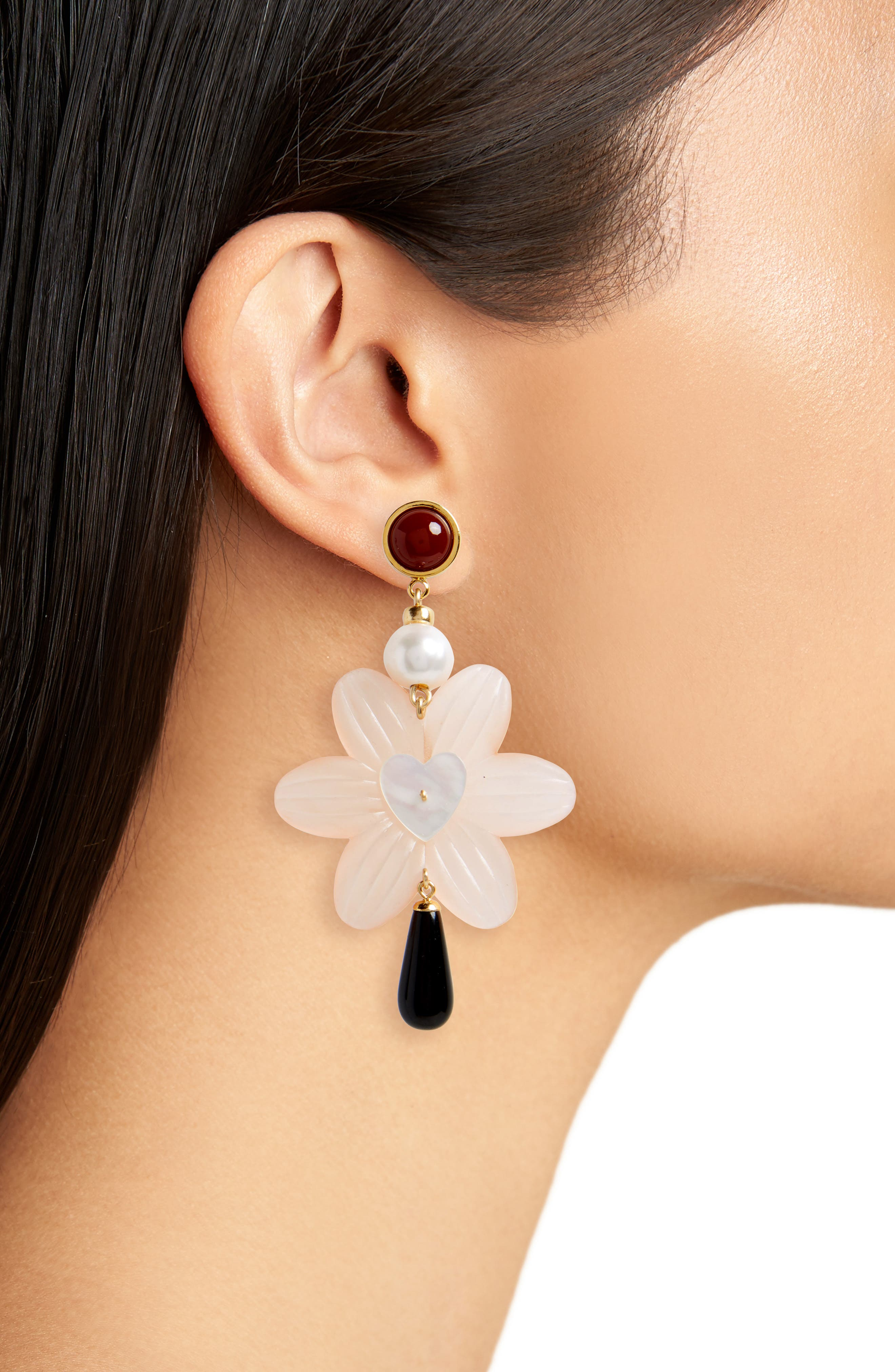 Sal Heart Drop Earrings with Freshwater Pearl,                             Alternate thumbnail 2, color,                             710