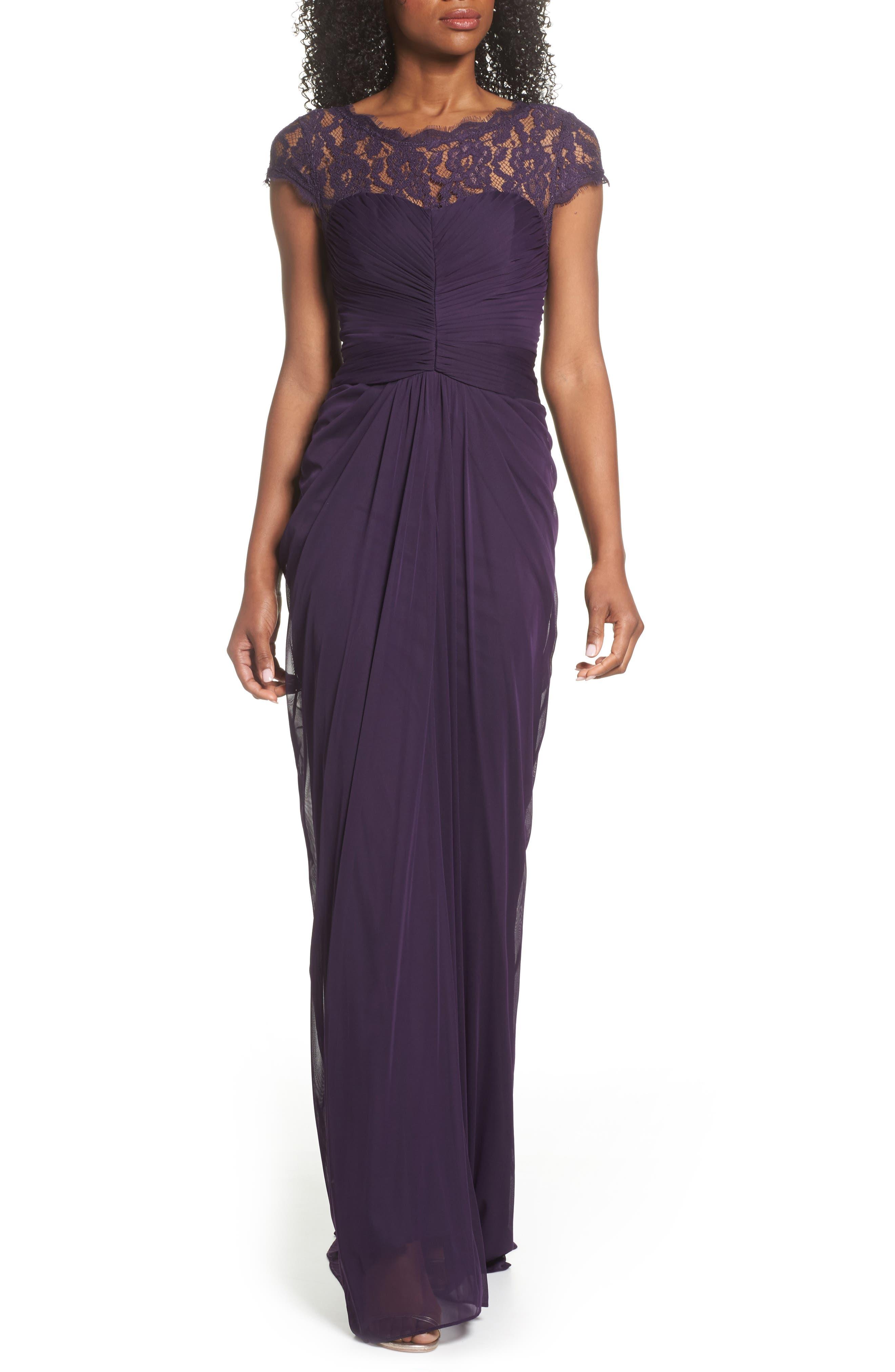 Lace Yoke Drape Gown,                             Alternate thumbnail 4, color,