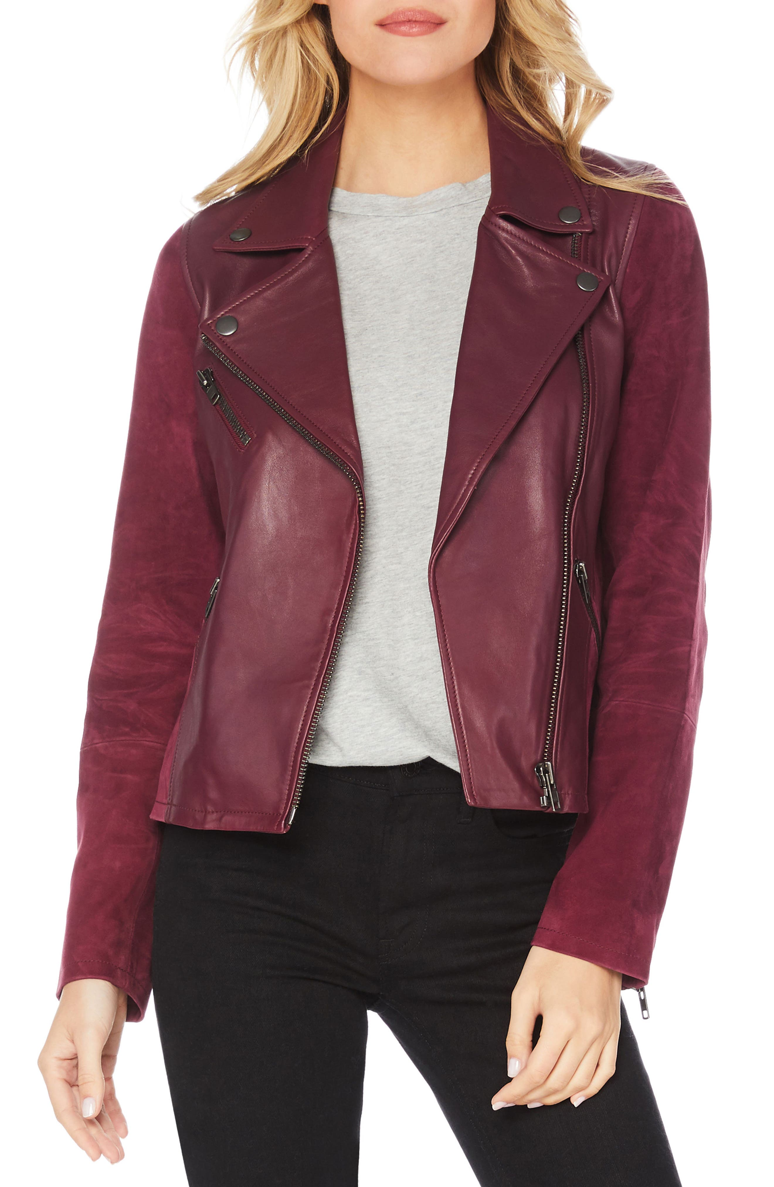 Leather & Suede Moto Jacket,                             Main thumbnail 1, color,                             PINOT