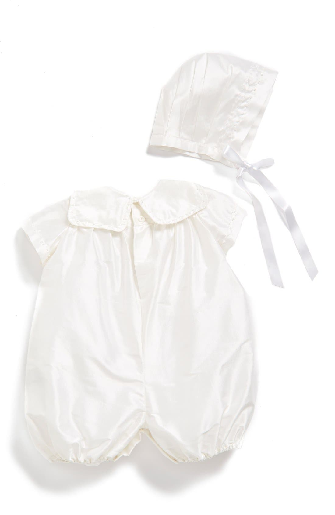 ISABEL GARRETON,                             'Charming' Silk Romper & Bonnet,                             Alternate thumbnail 2, color,                             105