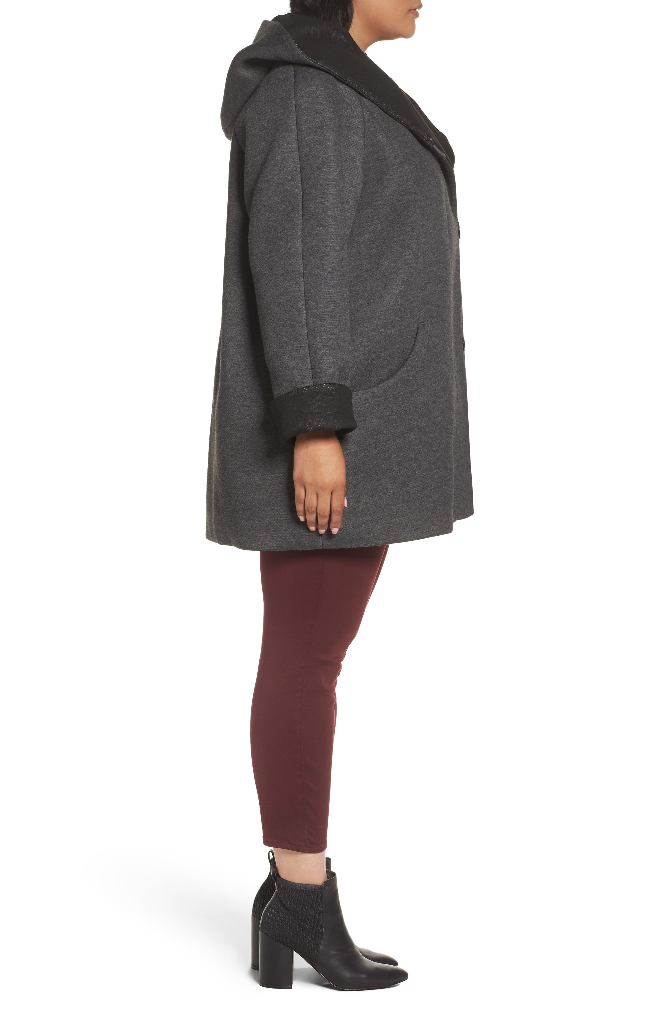 Hooded Double Face Knit Coat,                             Alternate thumbnail 4, color,