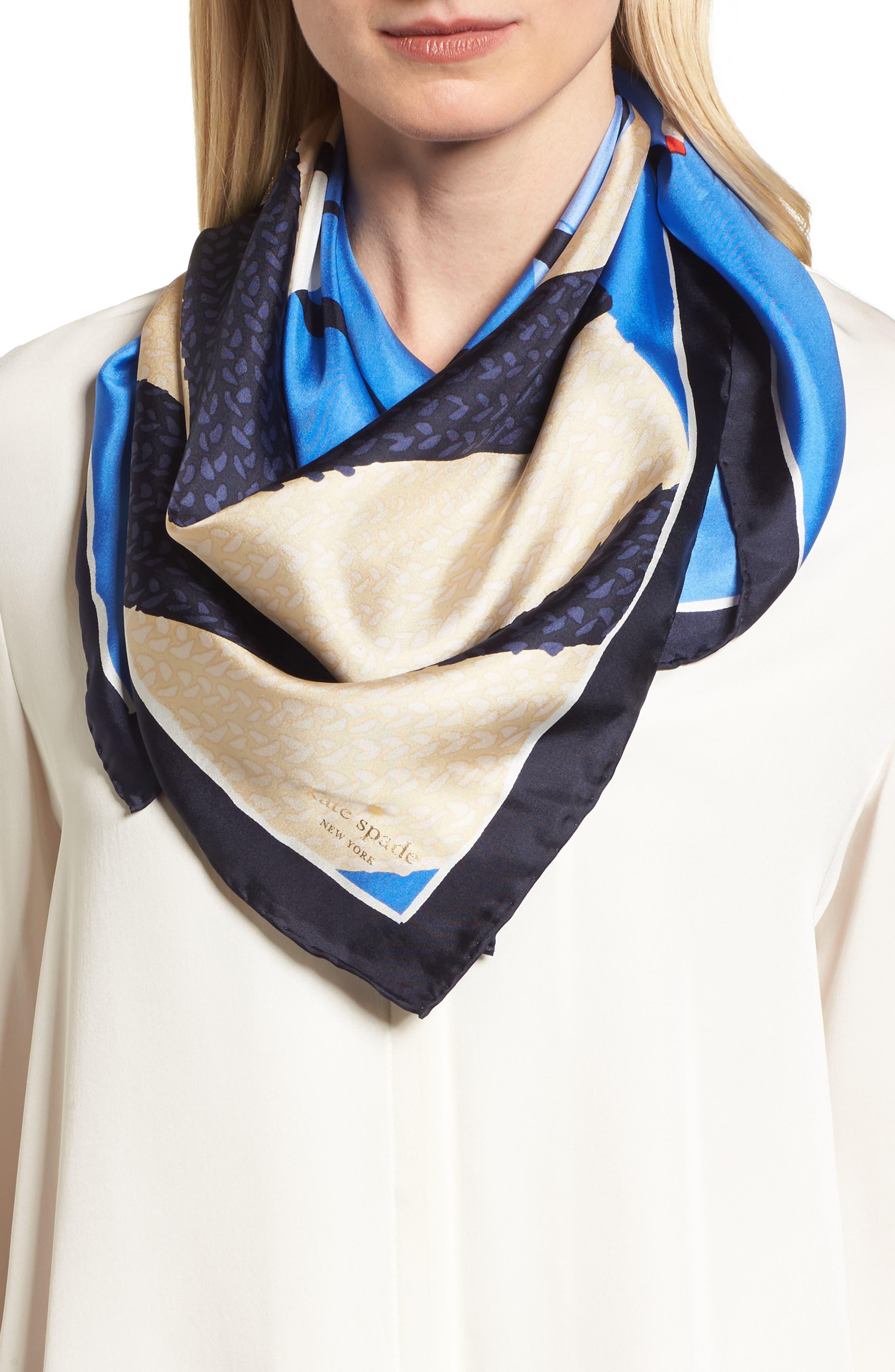 purse print square silk scarf,                             Main thumbnail 1, color,                             WILD CORNFLOWER
