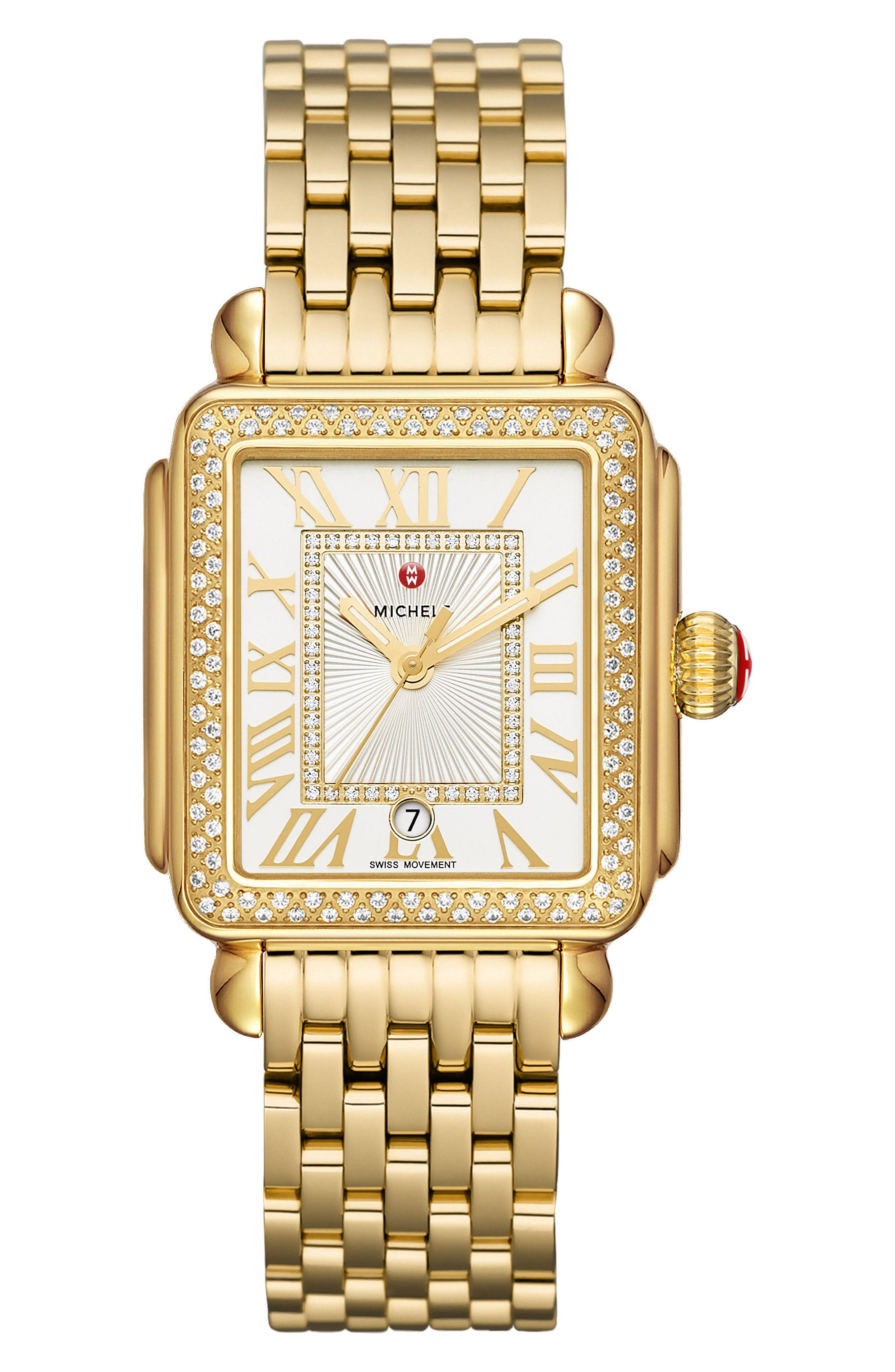 Deco Madison Diamond Dial Watch Case, 33mm x 35mm,                             Alternate thumbnail 2, color,                             GOLD/ WHITE/ GOLD