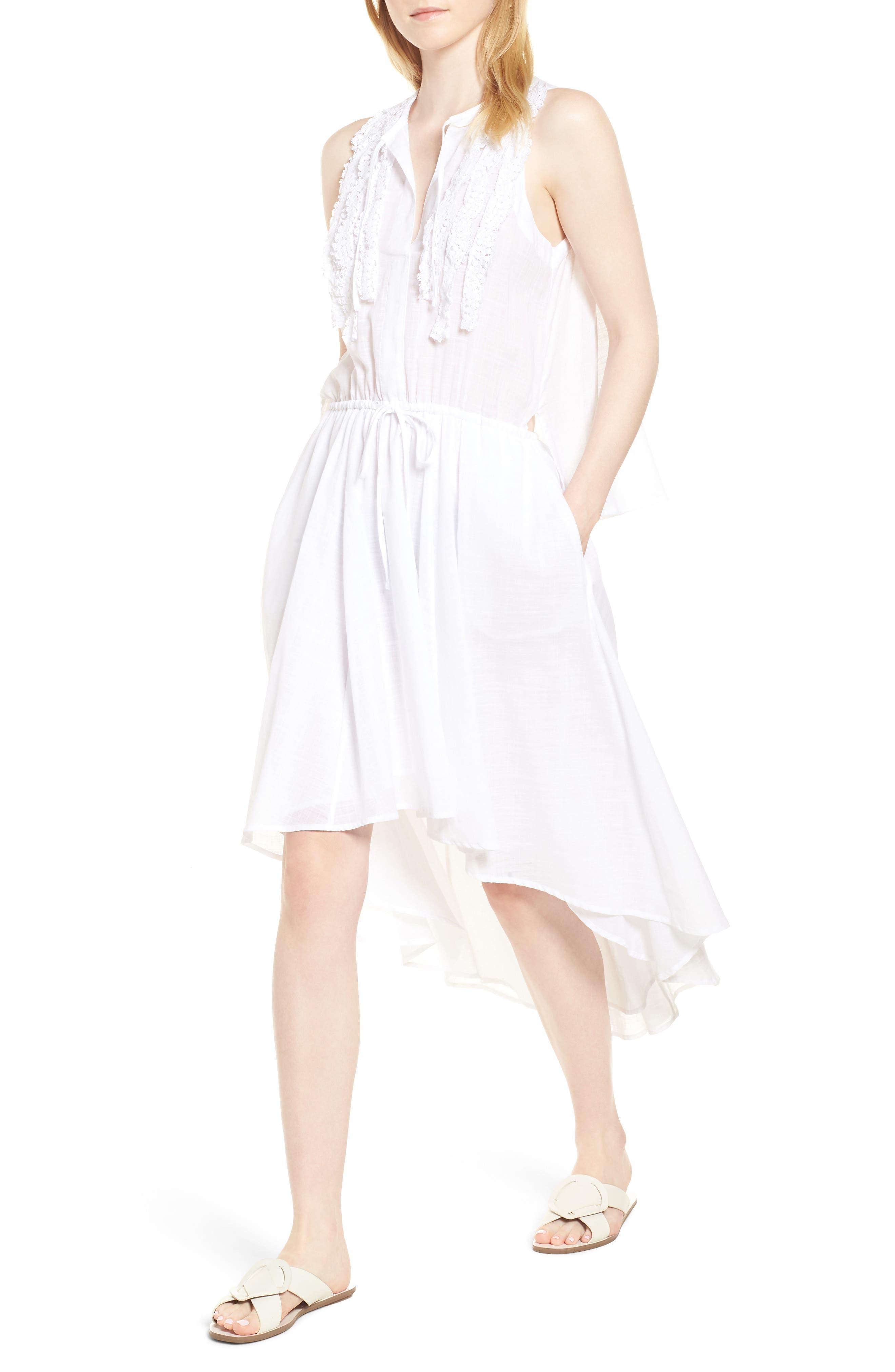 Crochet Trim High/Low Dress, Main, color, WHITE