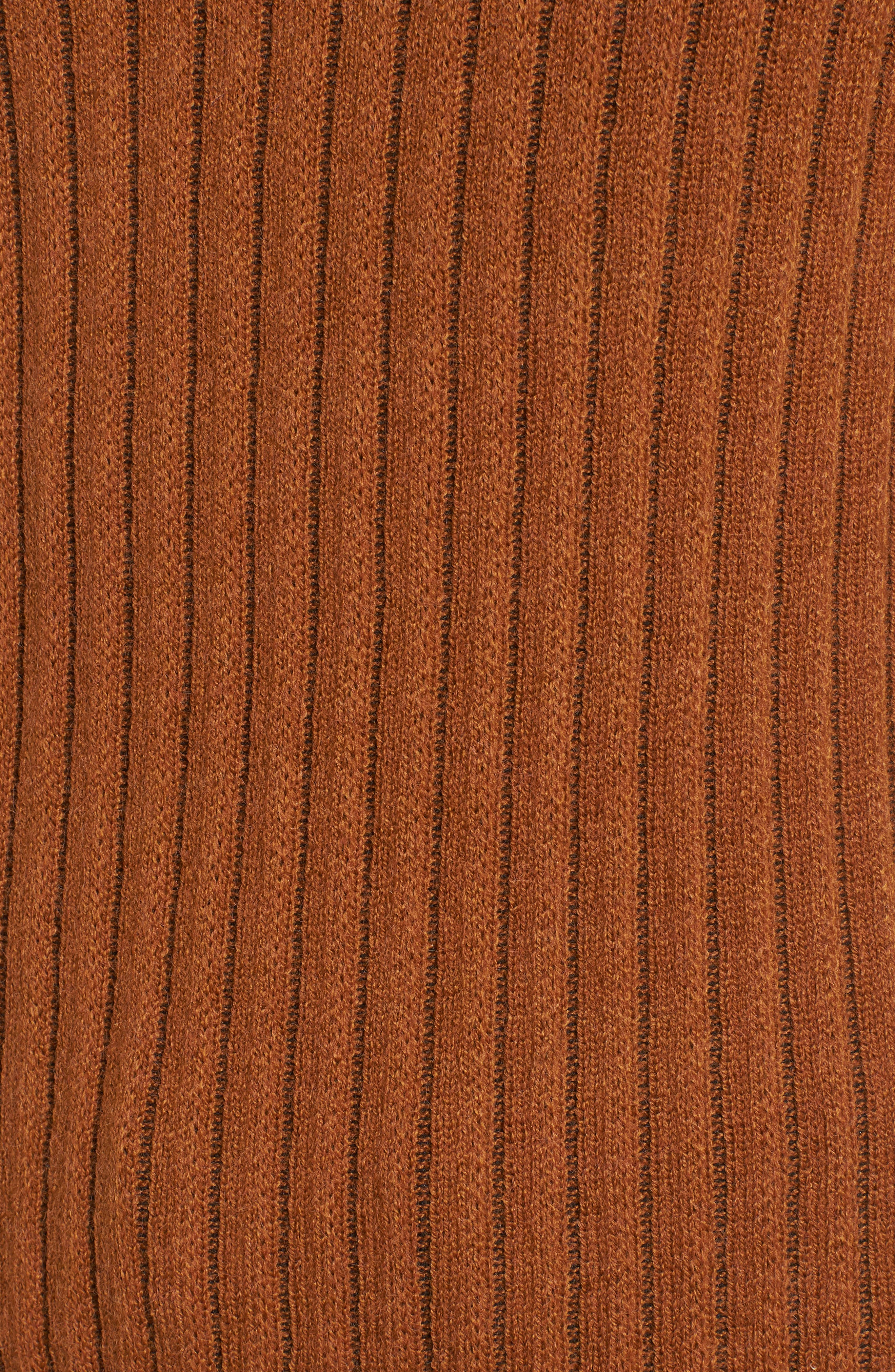Stripe Bell Sleeve Sweater,                             Alternate thumbnail 5, color,                             CHOCOLATE