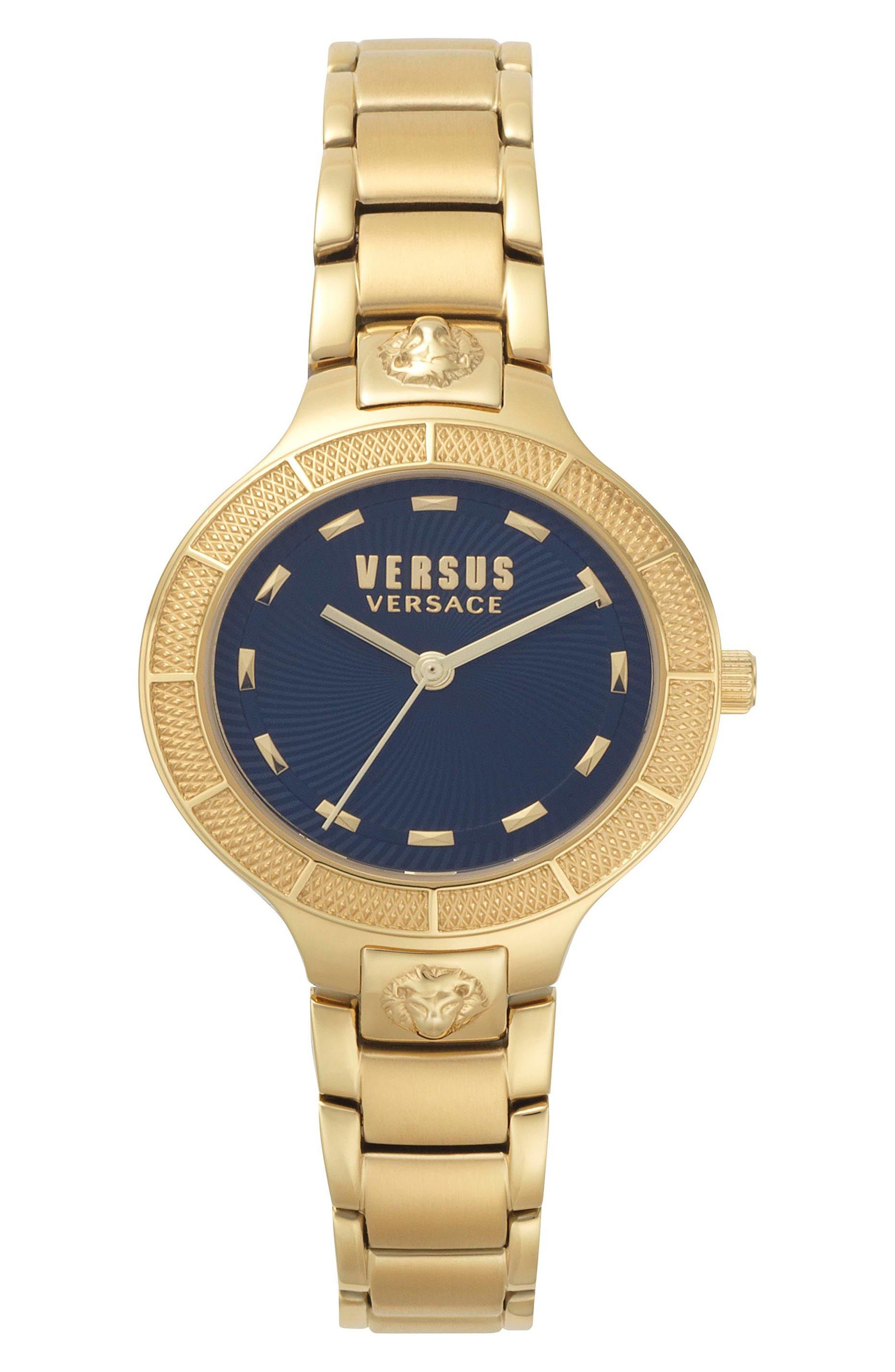 Claremont Bracelet Watch, 32mm,                             Main thumbnail 1, color,                             GOLD/ BLUE/ GOLD