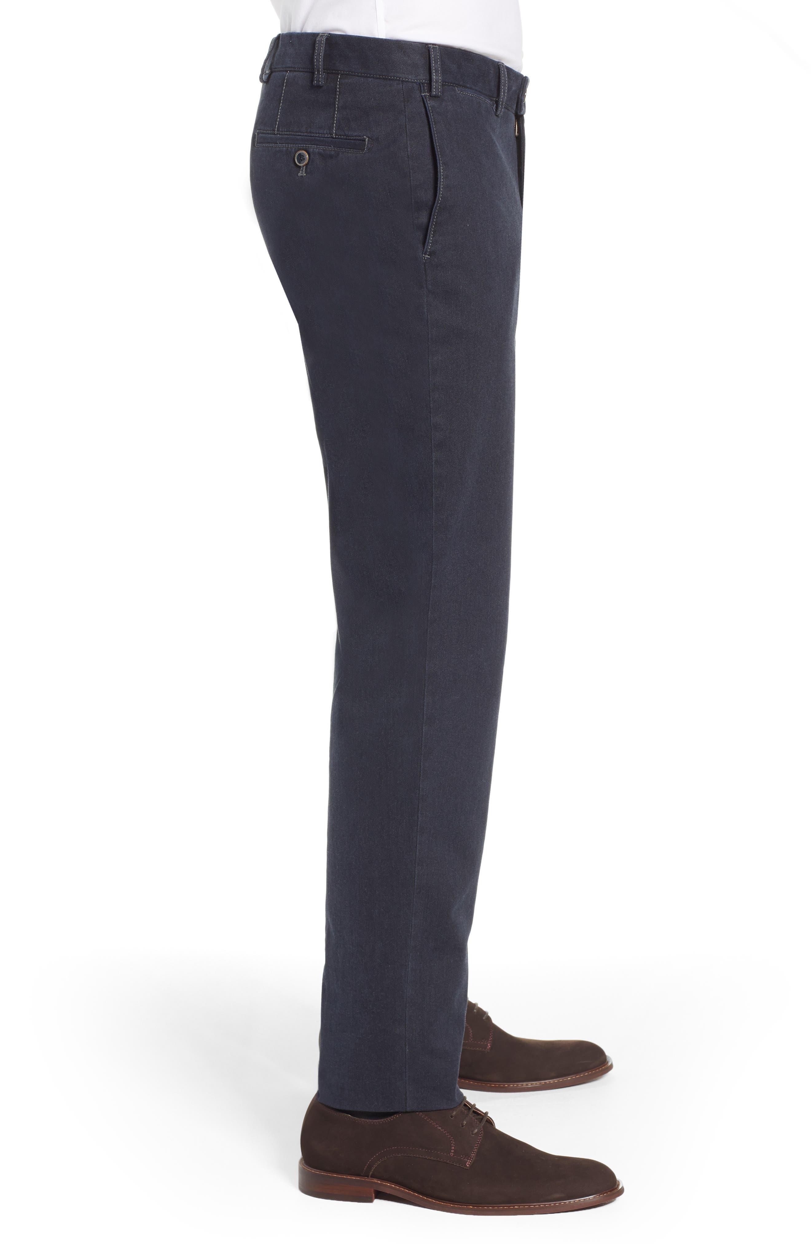 Pero Trim Fit Stretch Flat Front Cotton Blend Trousers,                             Alternate thumbnail 3, color,                             CHARCOAL