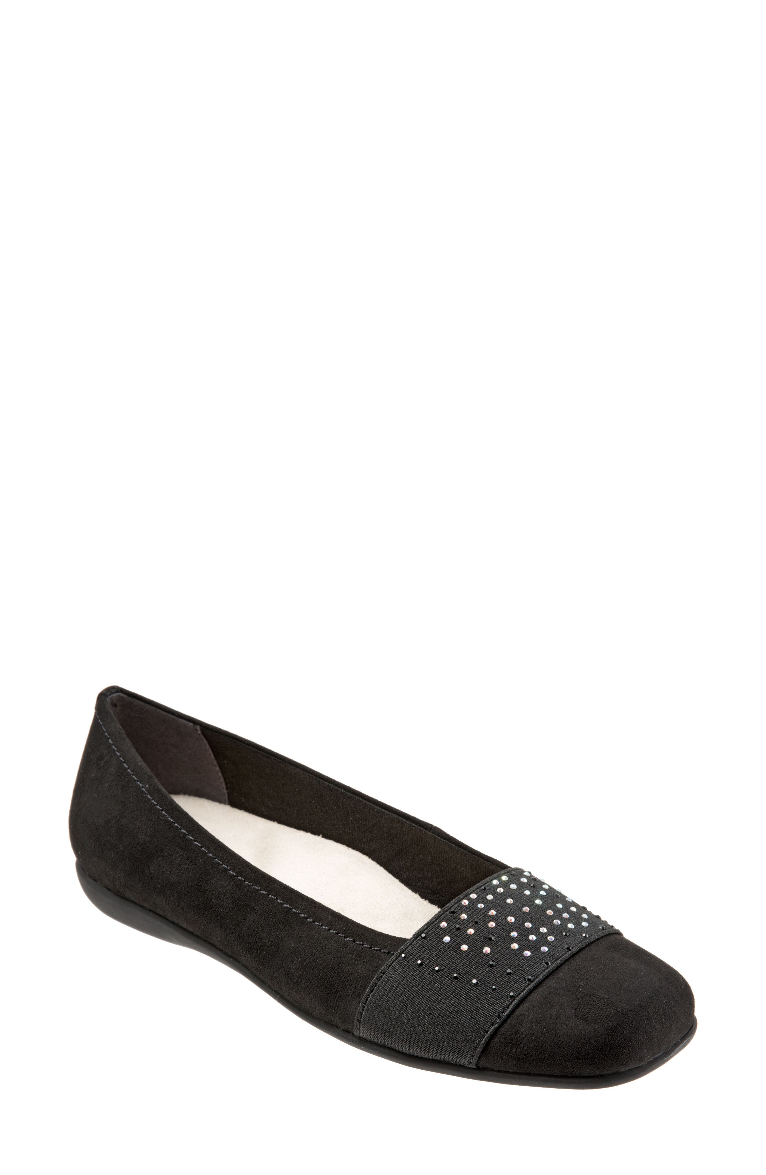 TROTTERS,                             Samantha Flat,                             Main thumbnail 1, color,                             BLACK SUEDE