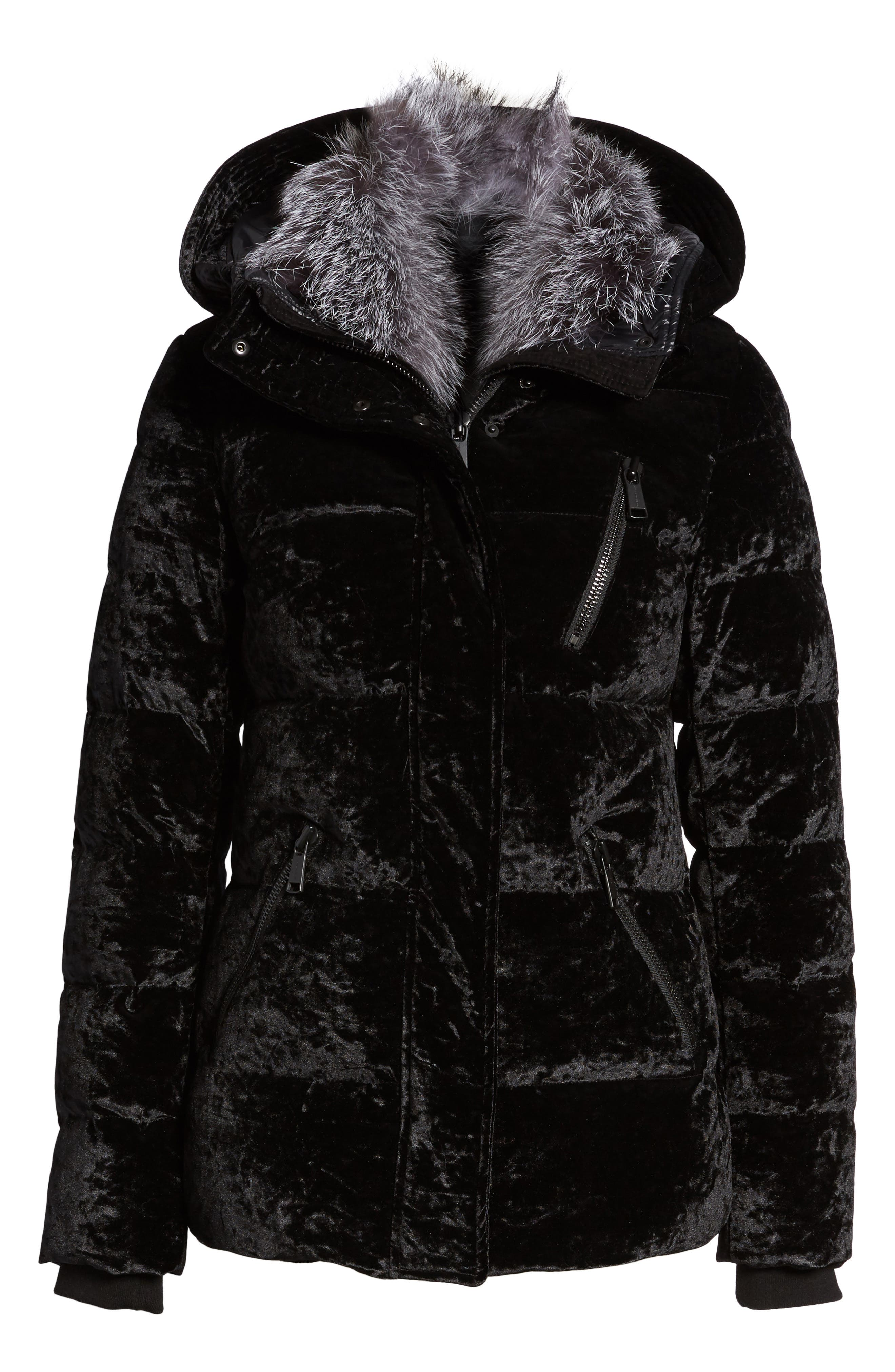 Hooded Down Jacket with Genuine Fox Fur Trim,                             Alternate thumbnail 5, color,                             001