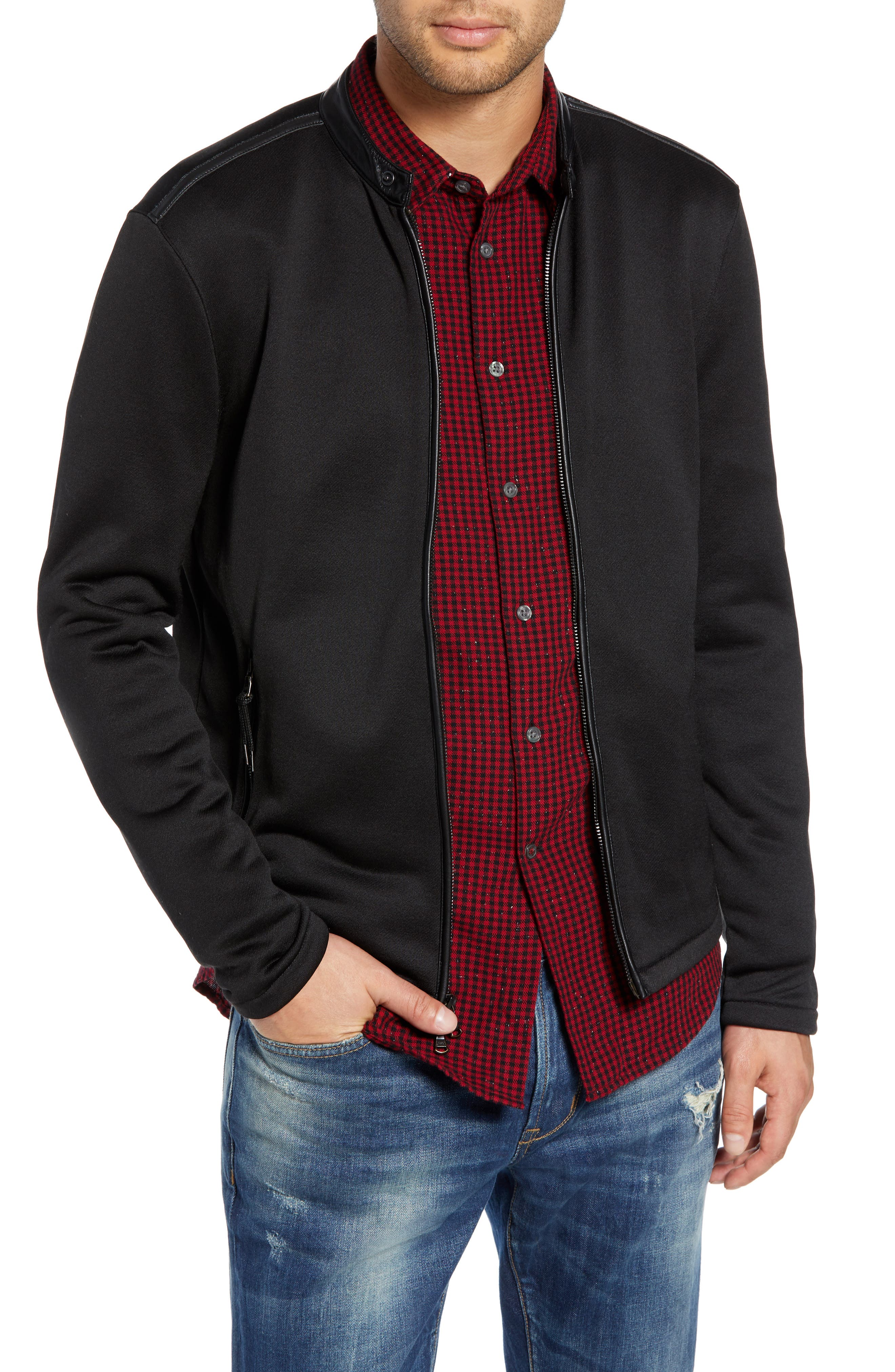 French Terry Zip Front Jacket,                         Main,                         color, BLACK
