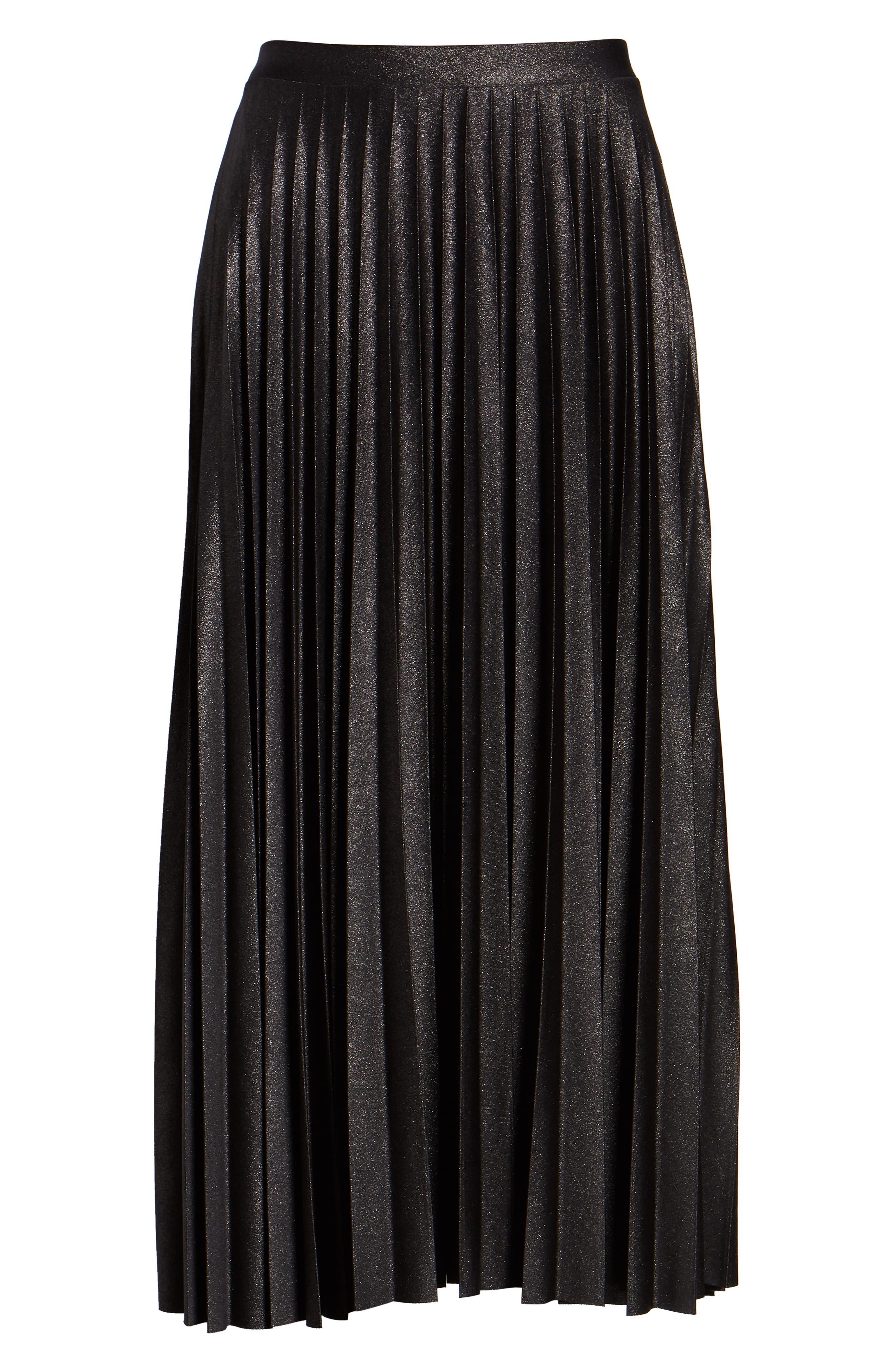 Metallic Pleat Midi Skirt,                             Alternate thumbnail 6, color,                             BLACK FOIL