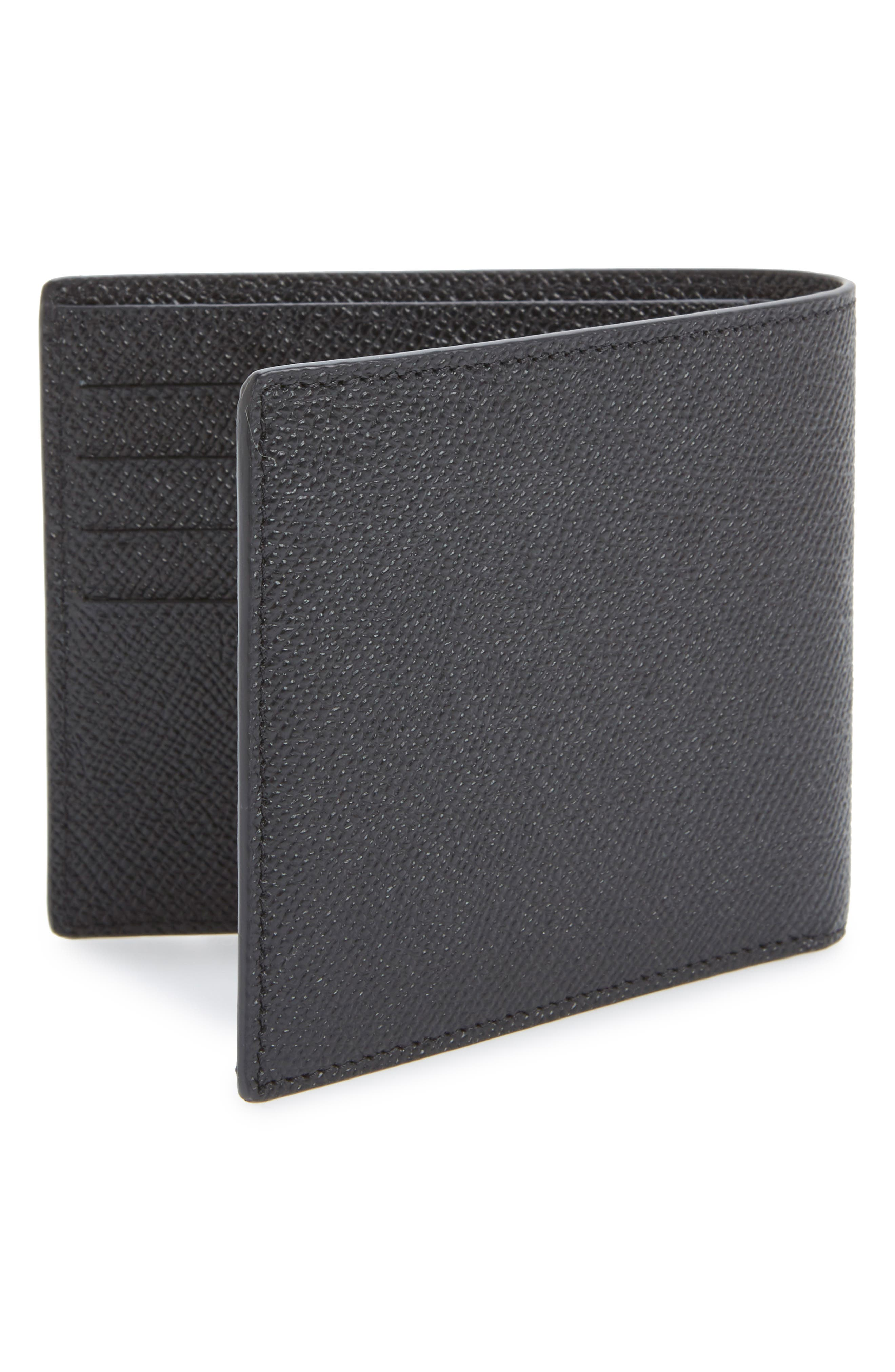 Calfskin Leather Bifold Wallet,                             Alternate thumbnail 5, color,                             BLACK