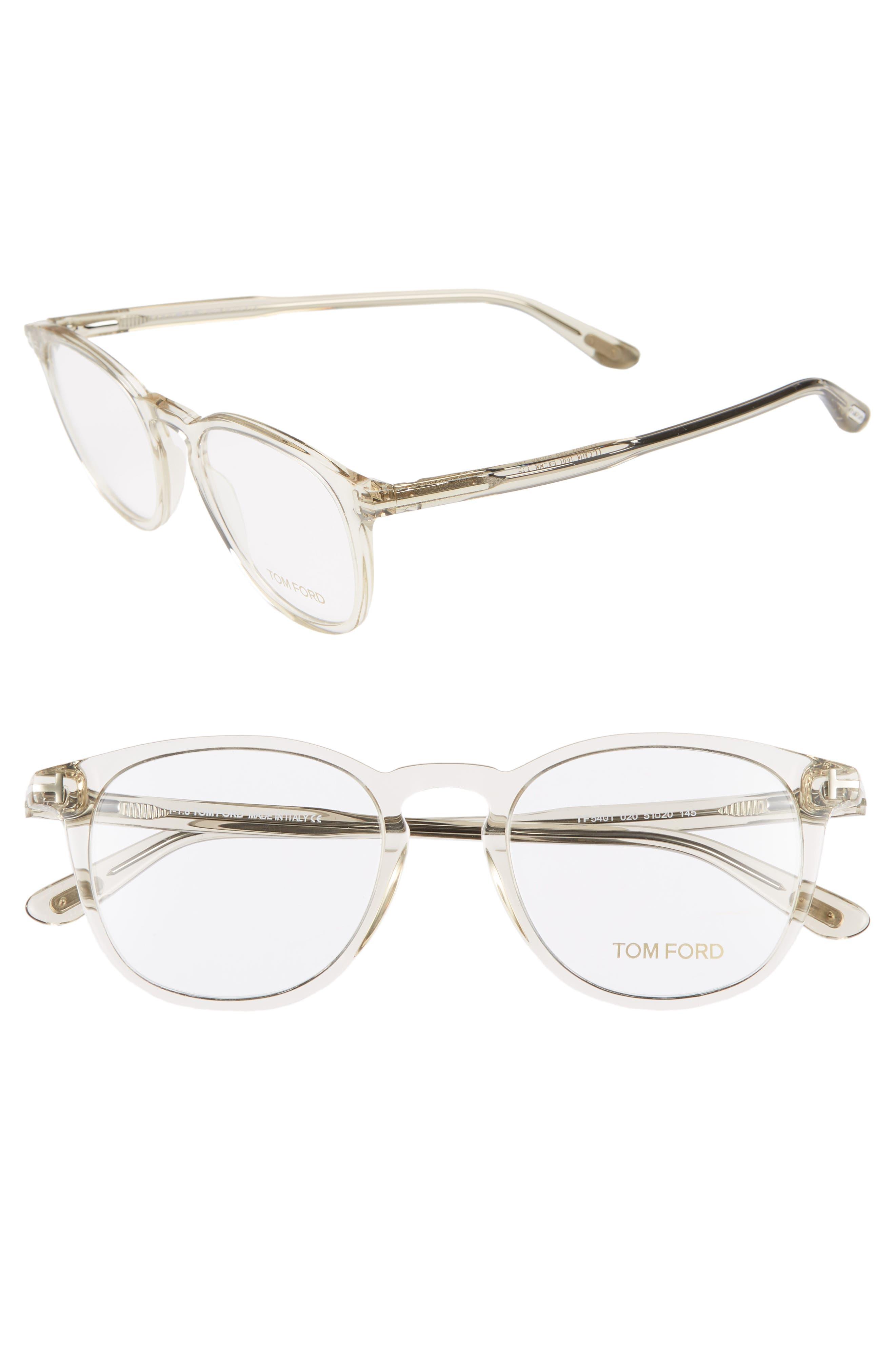 51mm Round Optical Glasses,                             Main thumbnail 1, color,                             SHINY TRANSPARENT GREY