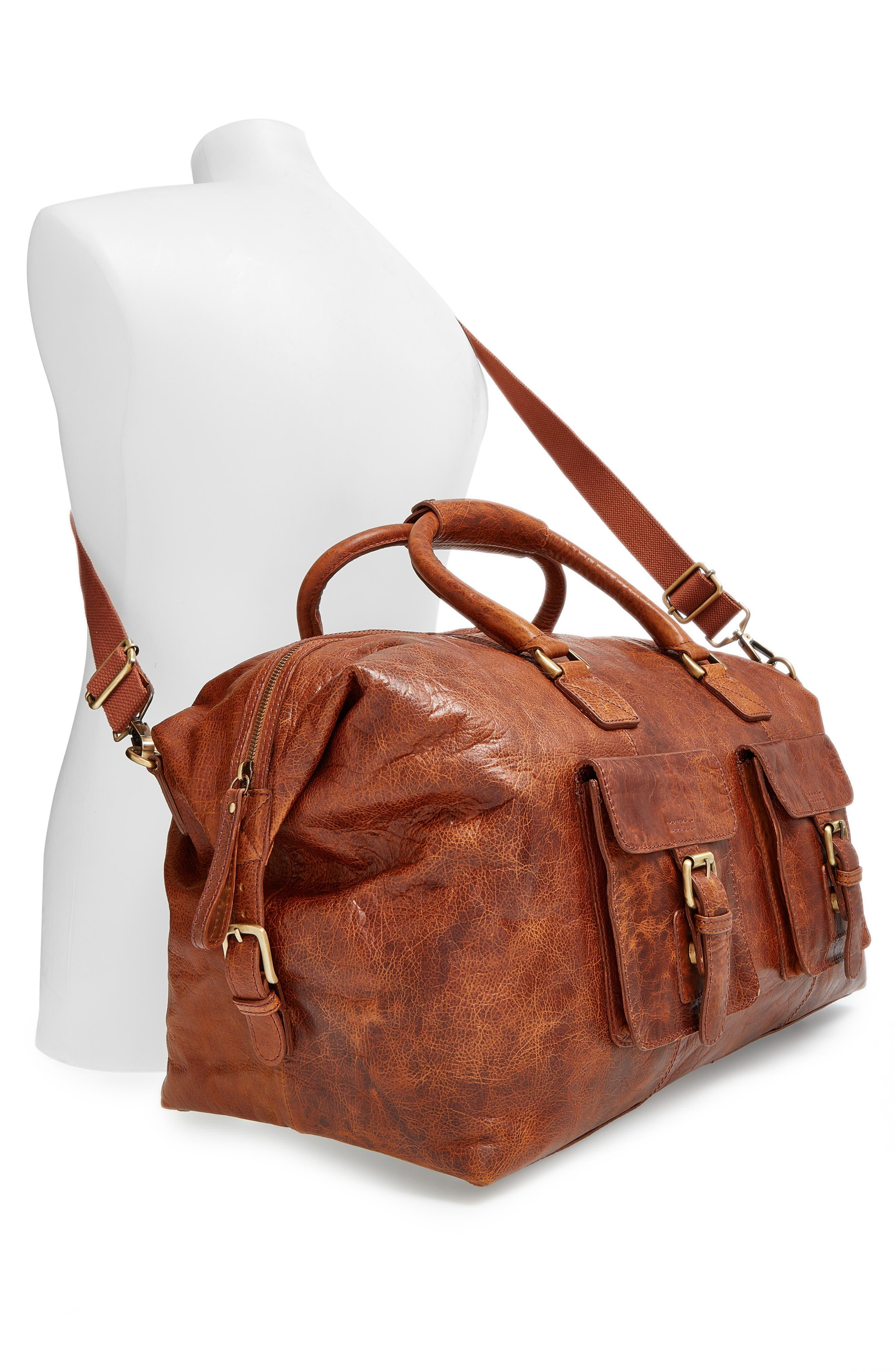 'Rugged' Leather Duffel Bag,                             Alternate thumbnail 6, color,                             COGNAC
