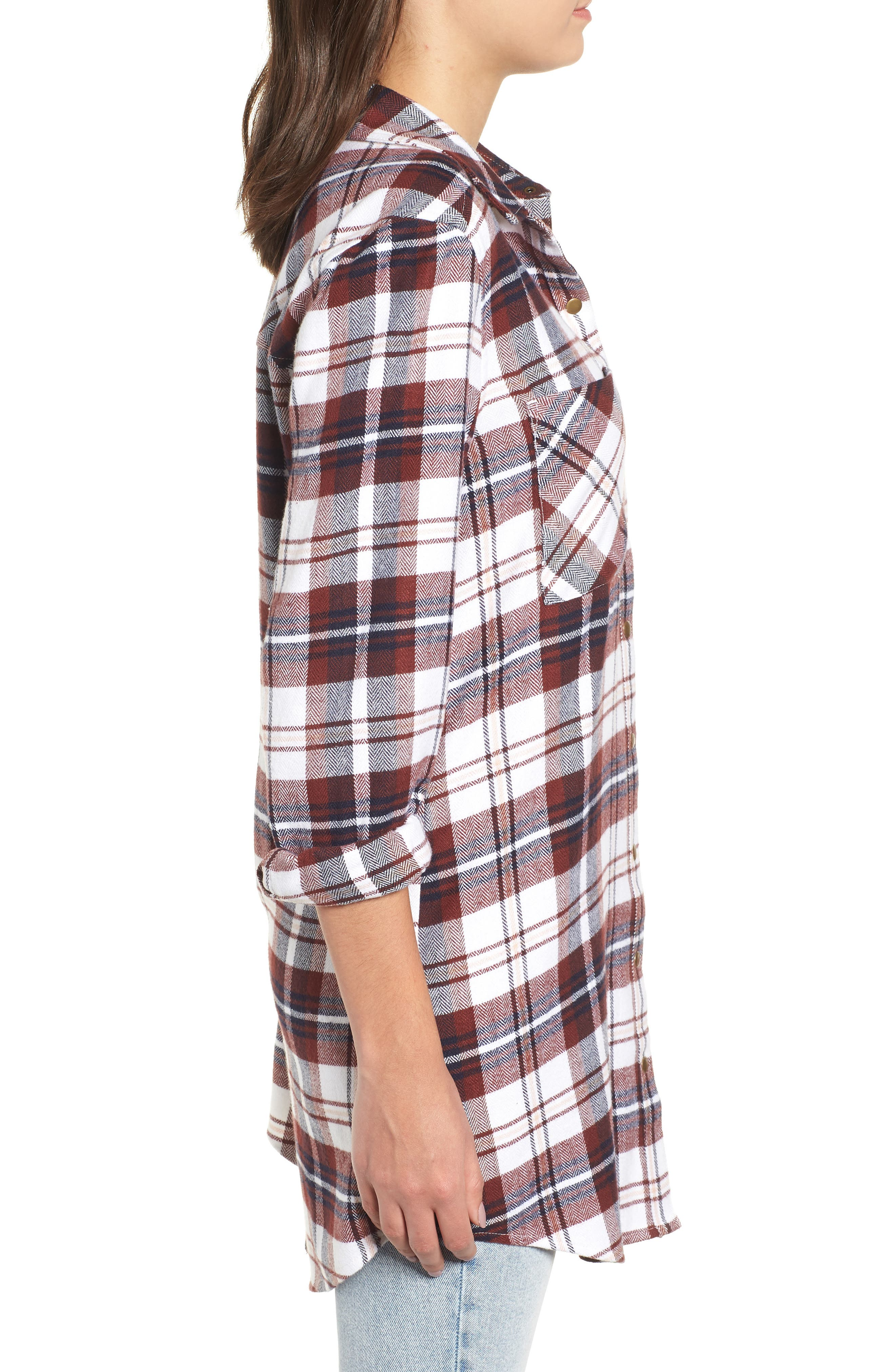 Plaid Flannel Tunic,                             Alternate thumbnail 3, color,                             IVORY CAMEL PLAID
