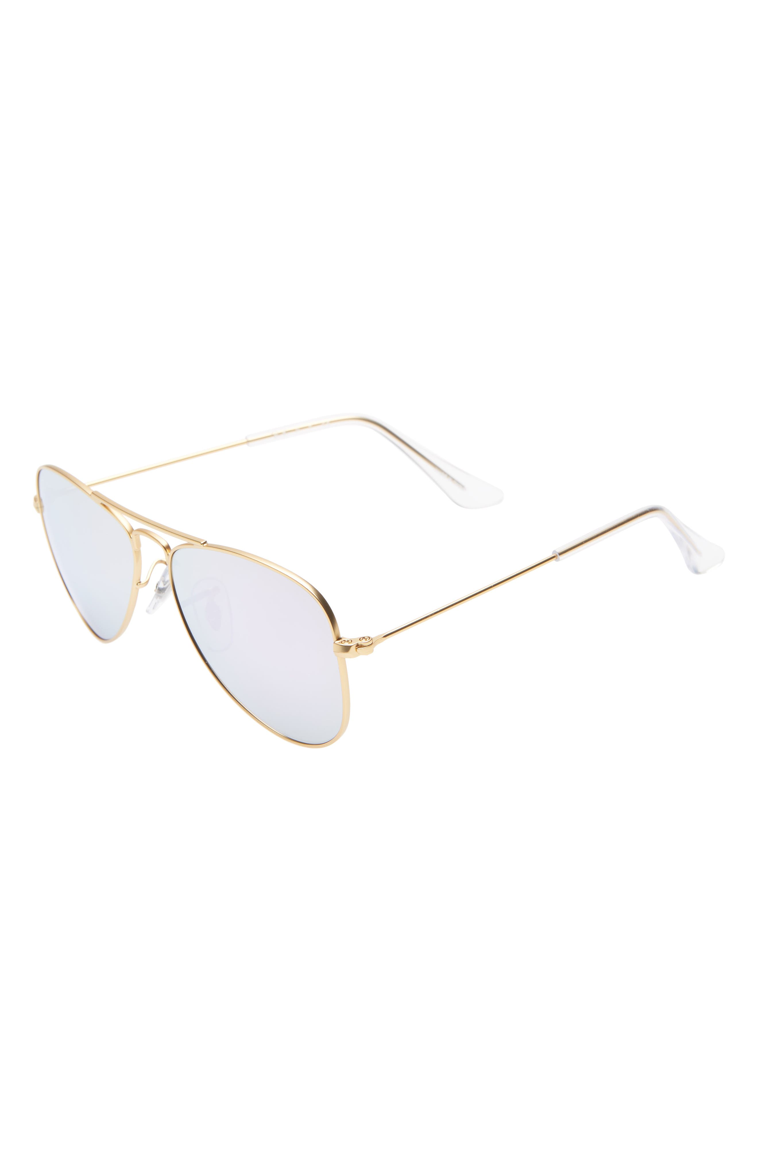 Ray-Ban Junior 50Mm Mirrored Aviator Sunglasses - Gold/ Lilac Mirror