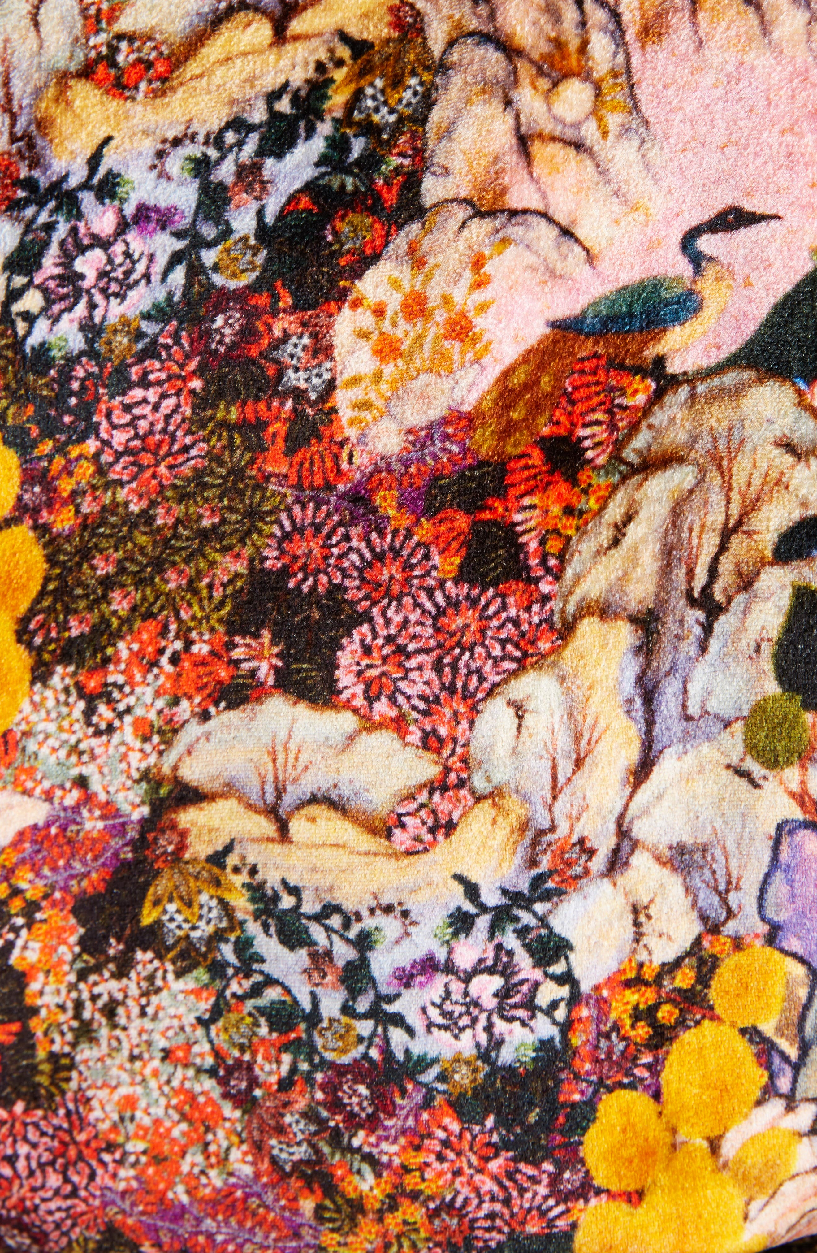 Zeta Floral Print Velvet Kimono Wrap Jacket,                             Alternate thumbnail 5, color,                             650