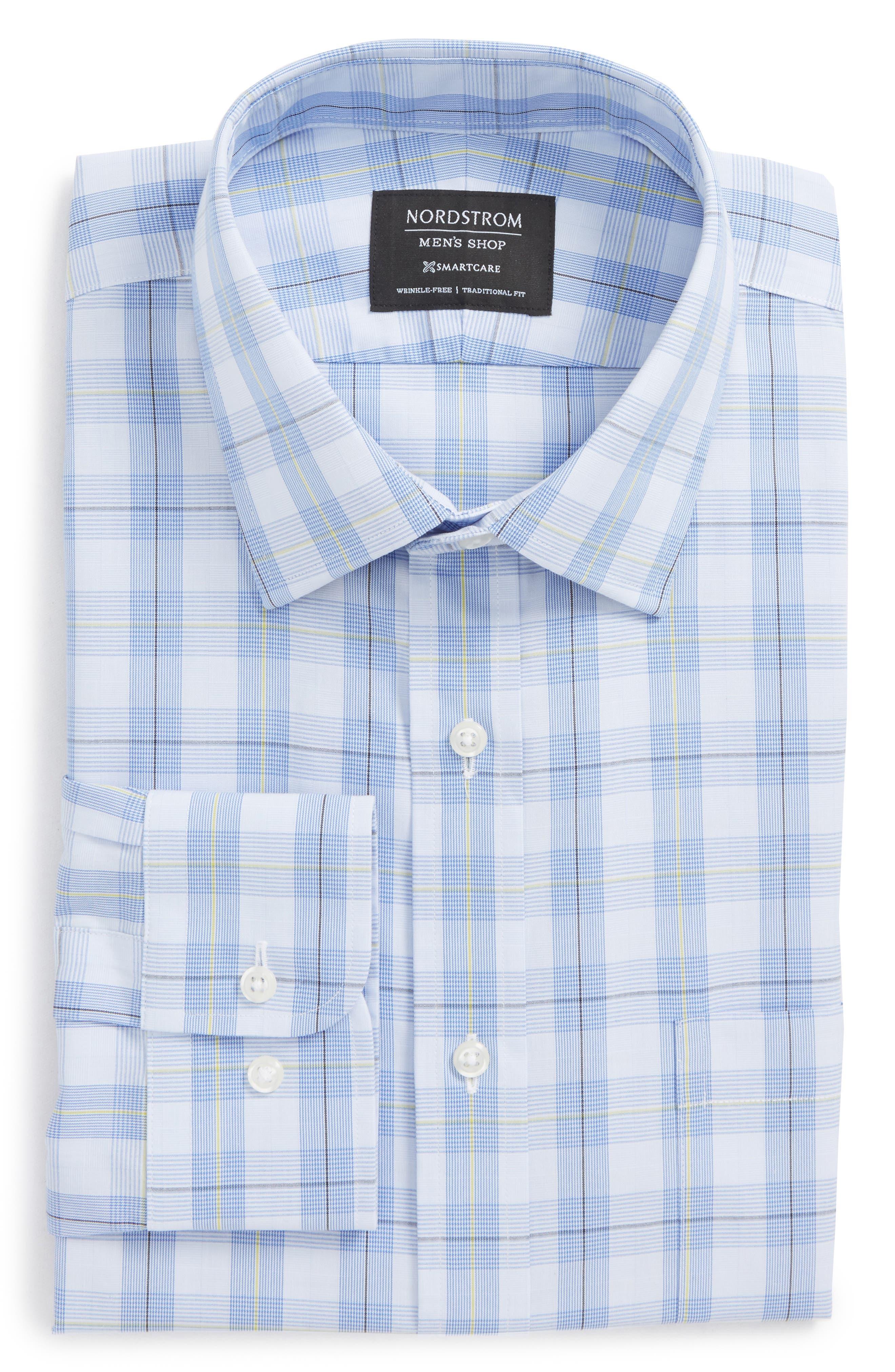 Smartcare<sup>™</sup> Traditional Fit Plaid Sport Shirt,                             Alternate thumbnail 5, color,
