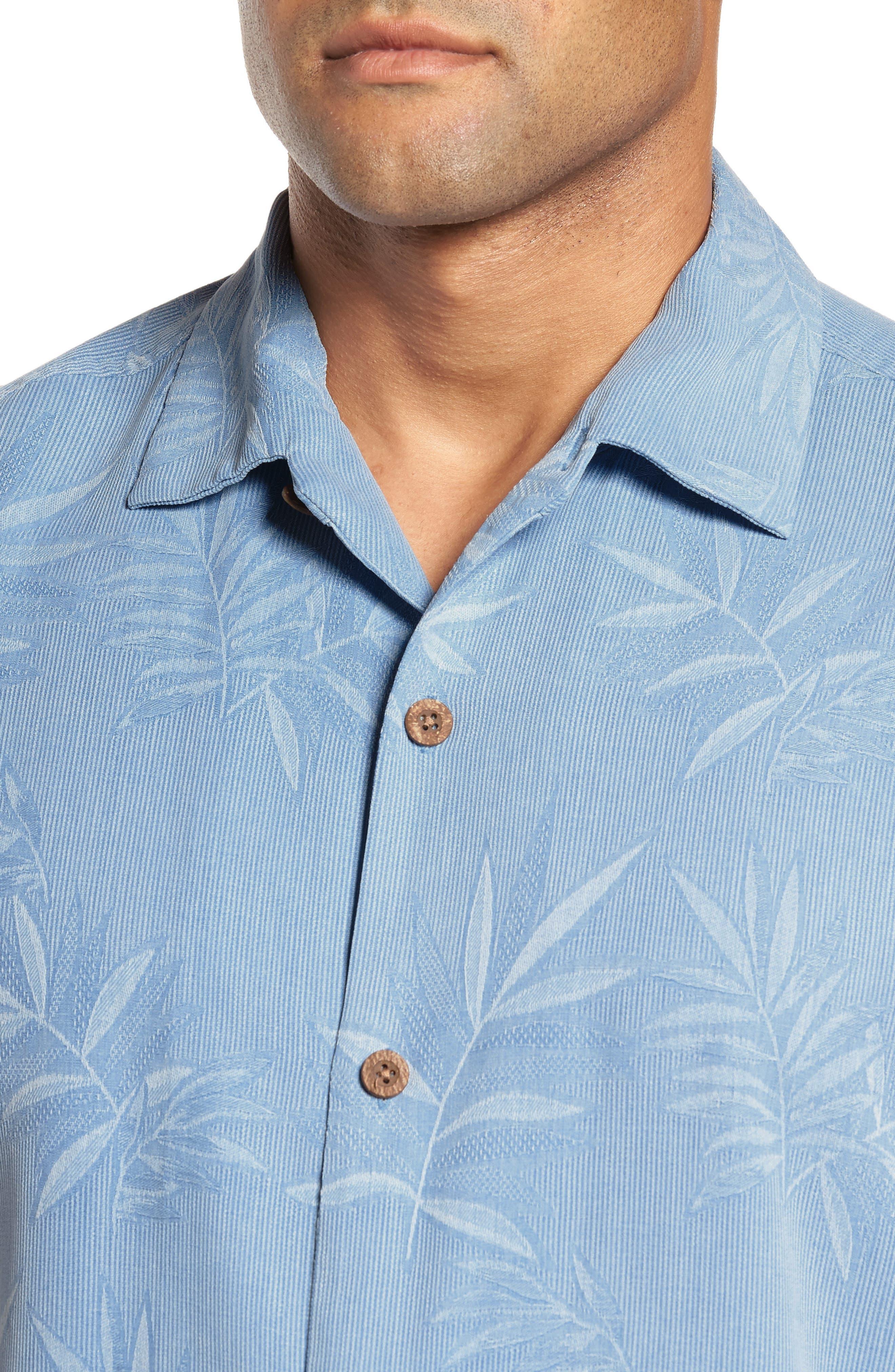 Luau Floral Silk Shirt,                             Alternate thumbnail 4, color,                             LIGHT SKY