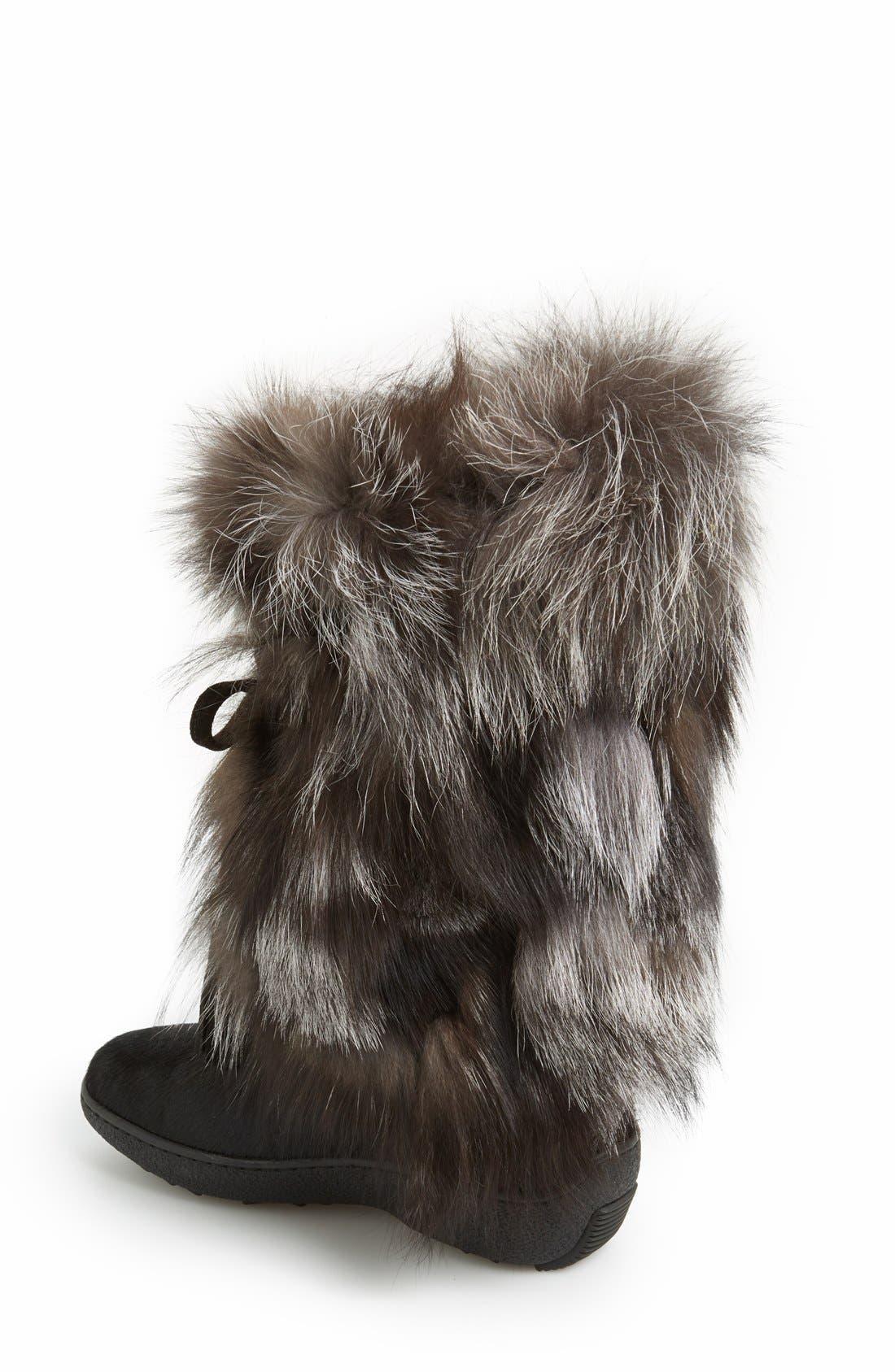 'Fox Trot' Genuine Fox Fur & Calf Hair Boot,                             Alternate thumbnail 2, color,                             001