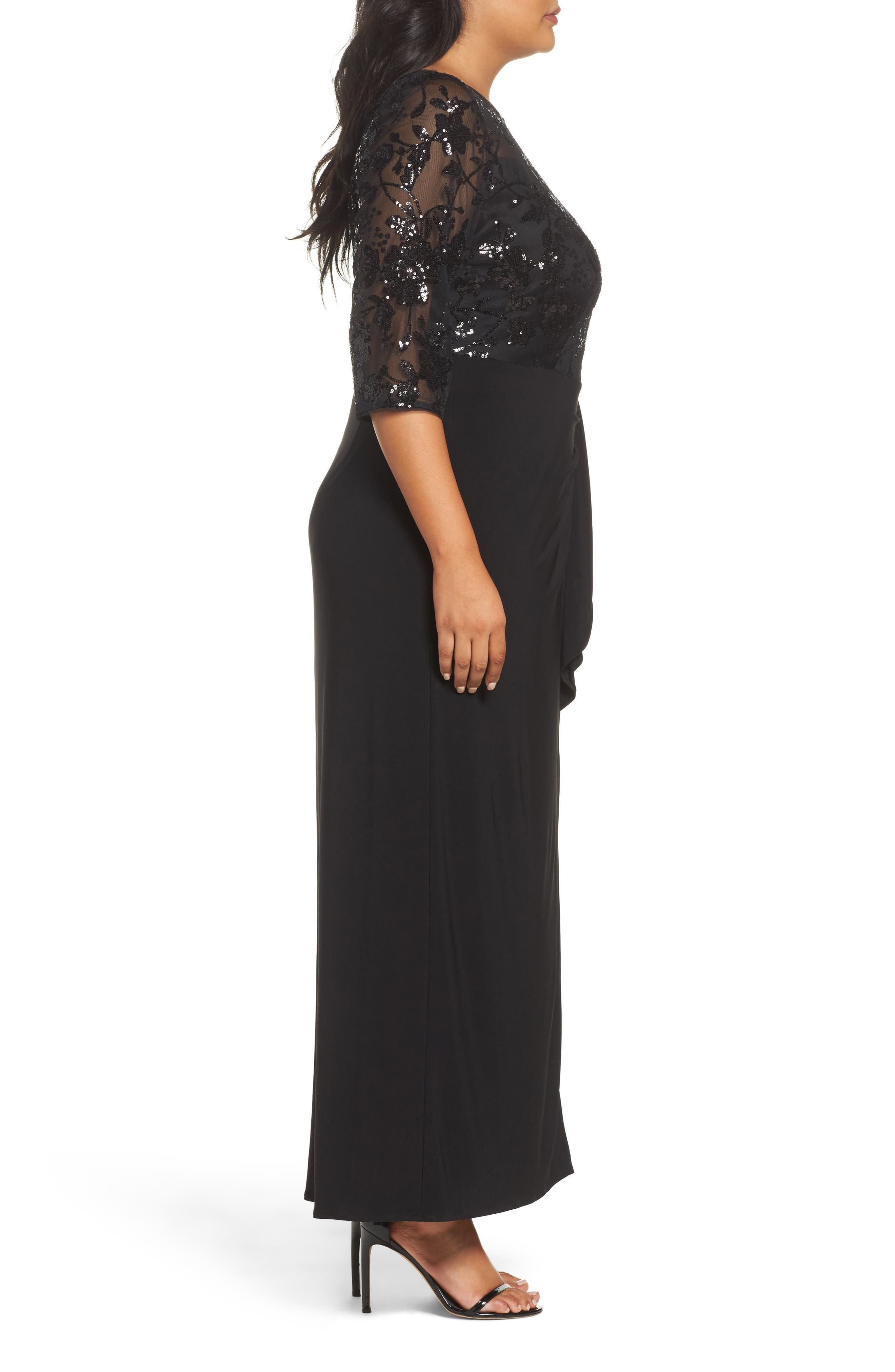 Sequin Mesh & Jersey Column Gown,                             Alternate thumbnail 3, color,                             001