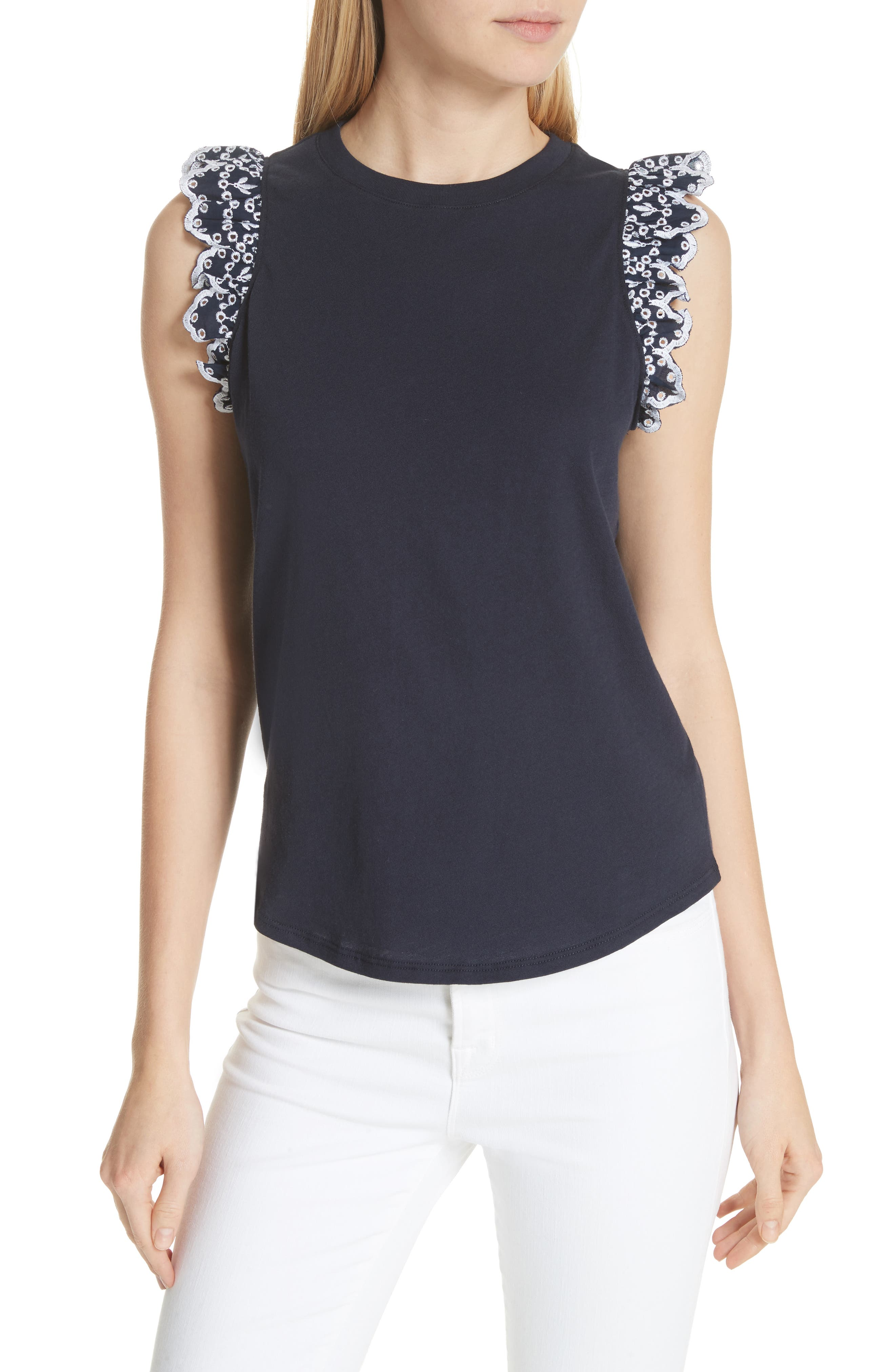 eyelet trim tee,                             Main thumbnail 1, color,                             473