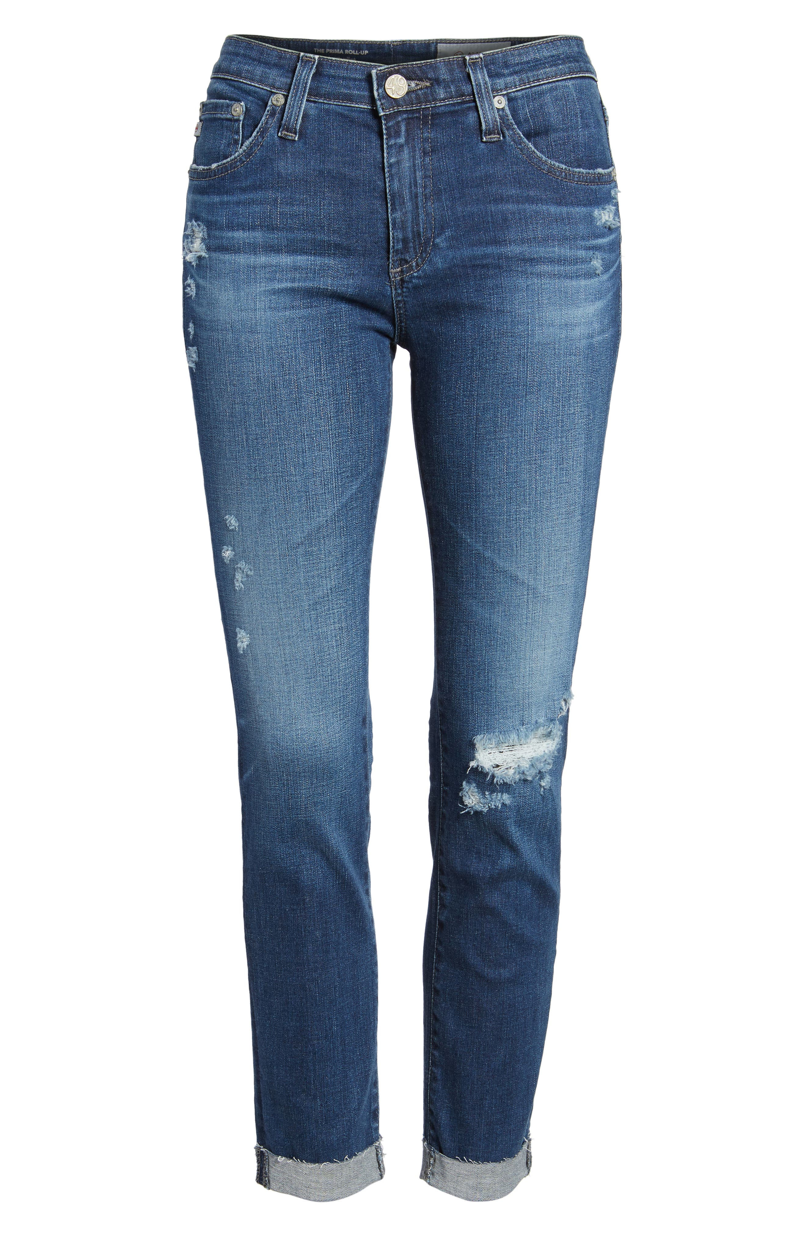 Prima Ripped Roll-Up Skinny Jeans,                             Alternate thumbnail 7, color,