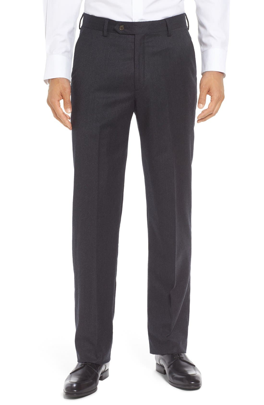 Flat Front Solid Wool Trousers,                             Main thumbnail 1, color,                             CHARCOAL