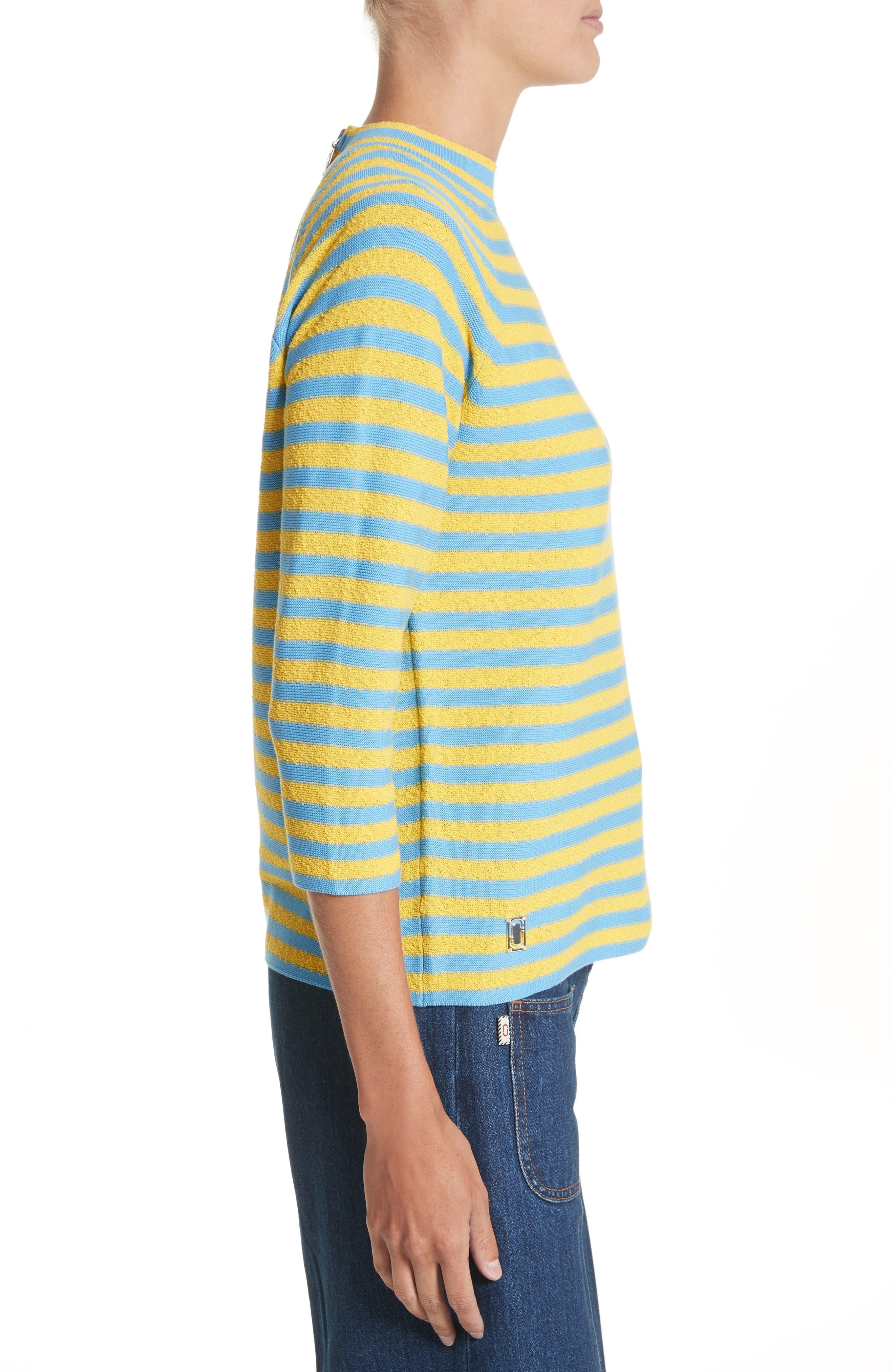 Stripe Mock Neck Sweater,                             Alternate thumbnail 6, color,