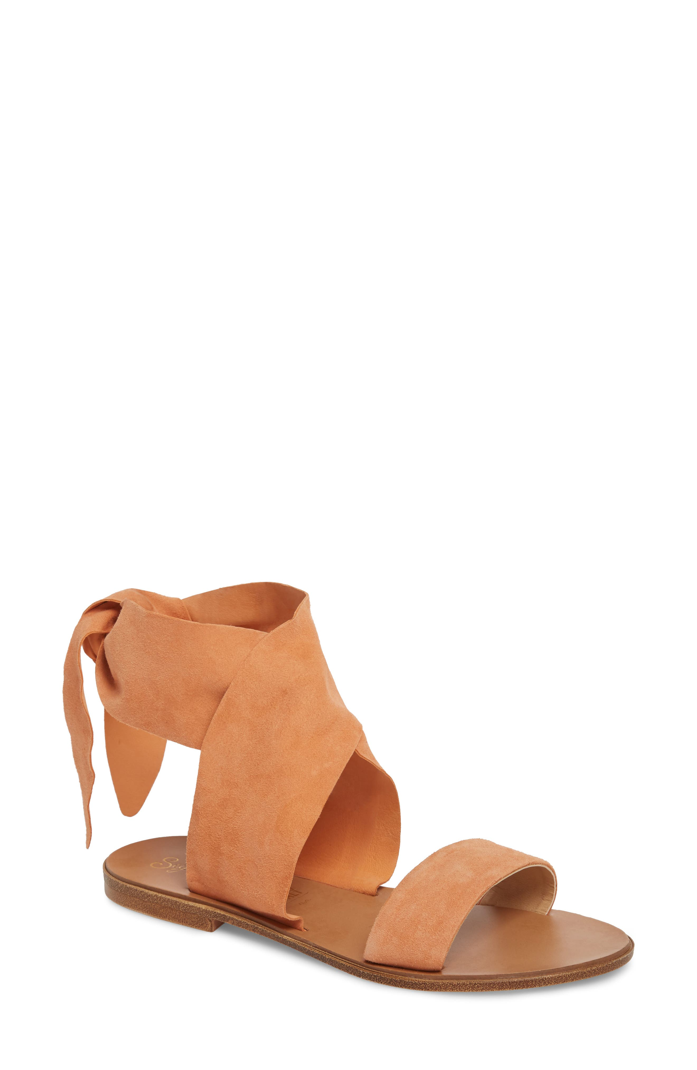 Cruisin Ankle Wrap Sandal,                             Main thumbnail 1, color,                             PEACH SUEDE