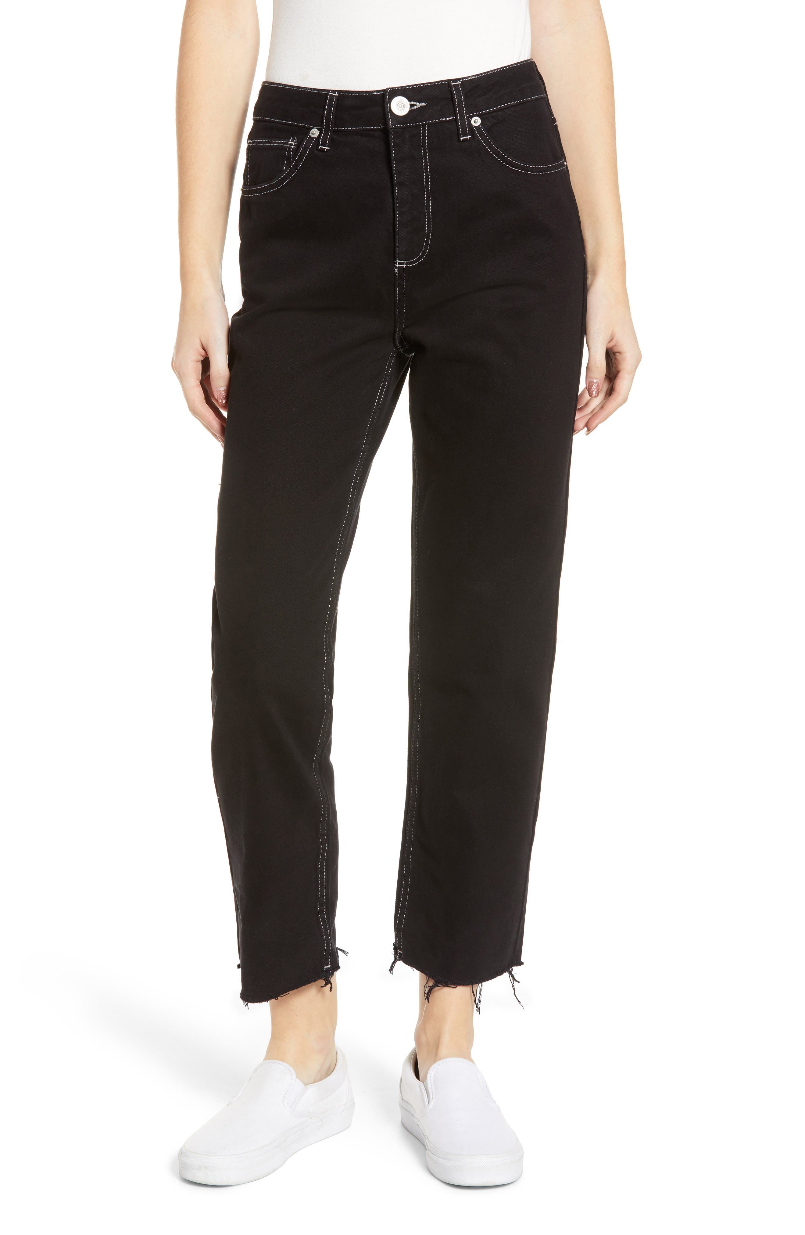 Urban Outfitters Pax High Waist Jeans, Main, color, BLACK