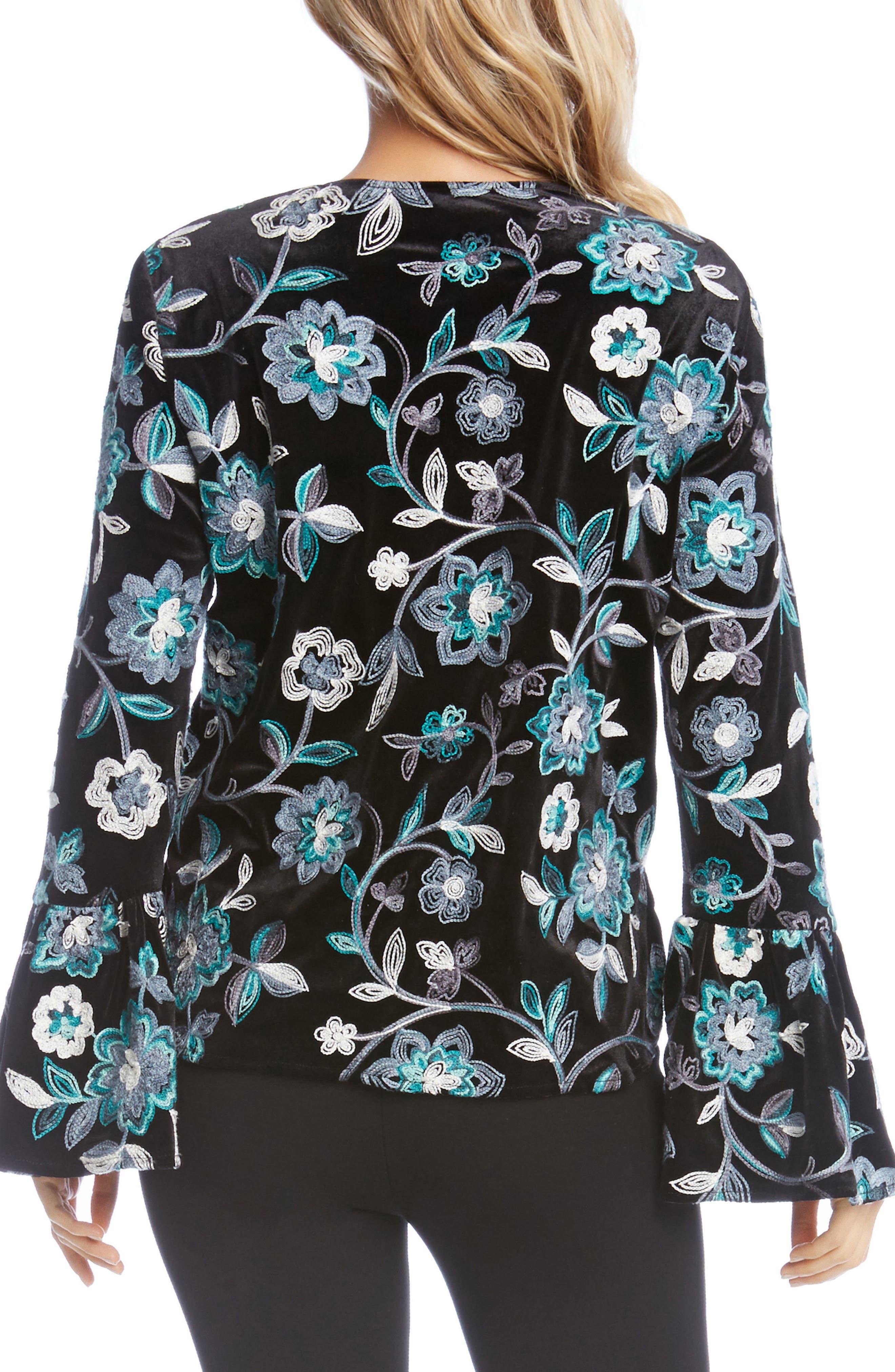 Embroidered Floral Velvet Top,                             Alternate thumbnail 2, color,                             008
