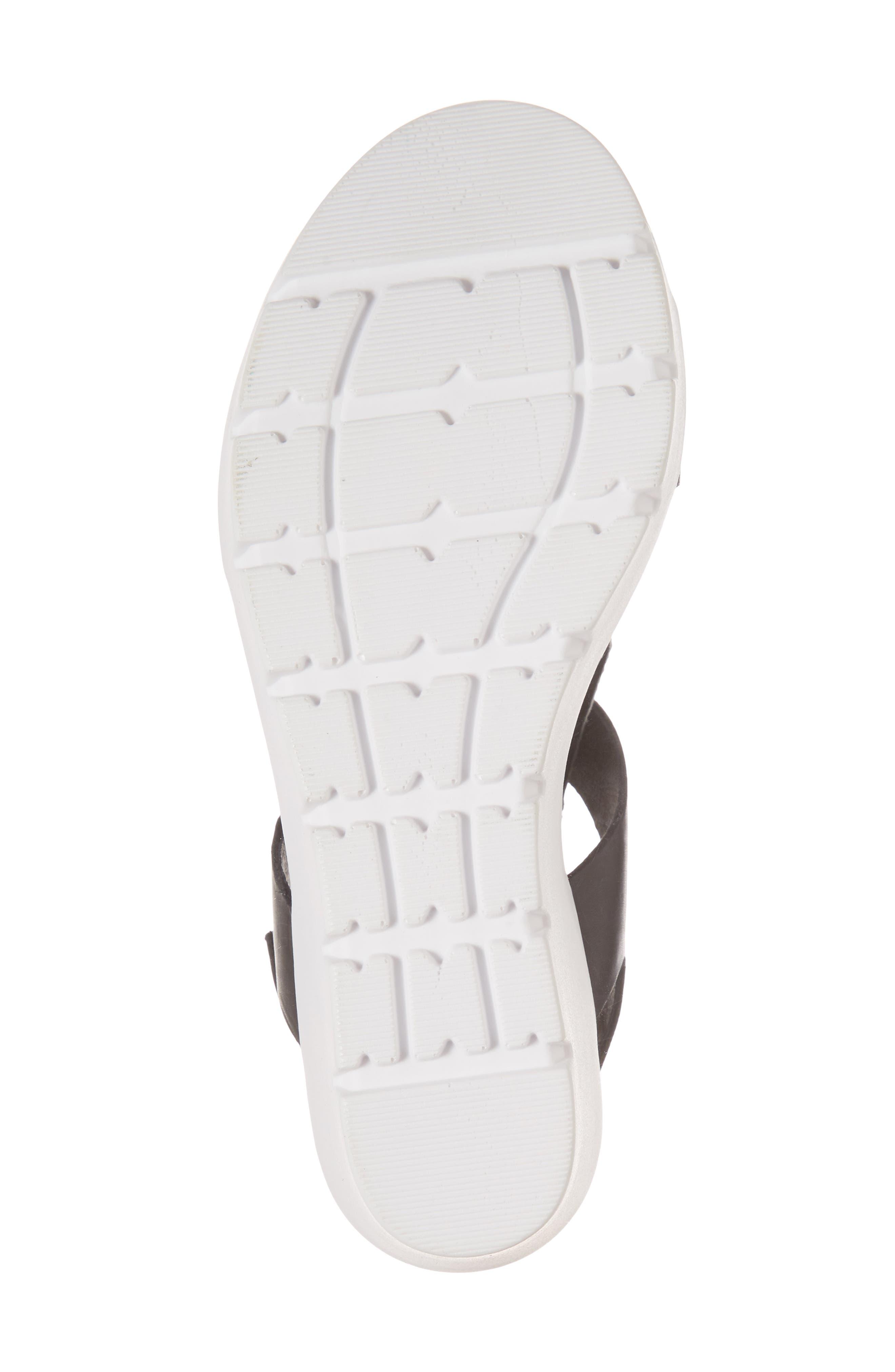 Somo Platform Wedge Sandal,                             Alternate thumbnail 6, color,                             BLACK/ WHITE SMOOTH LEATHER