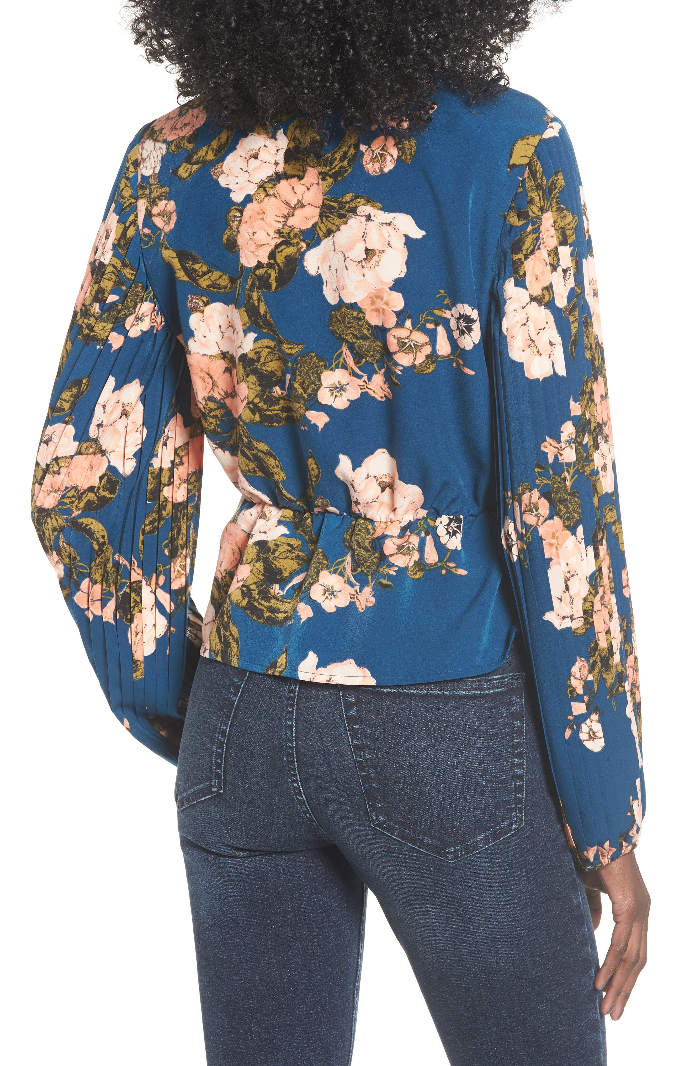 Pleated Sleeve Blouse,                             Alternate thumbnail 2, color,                             BLUE AURORA TONAL FLORAL