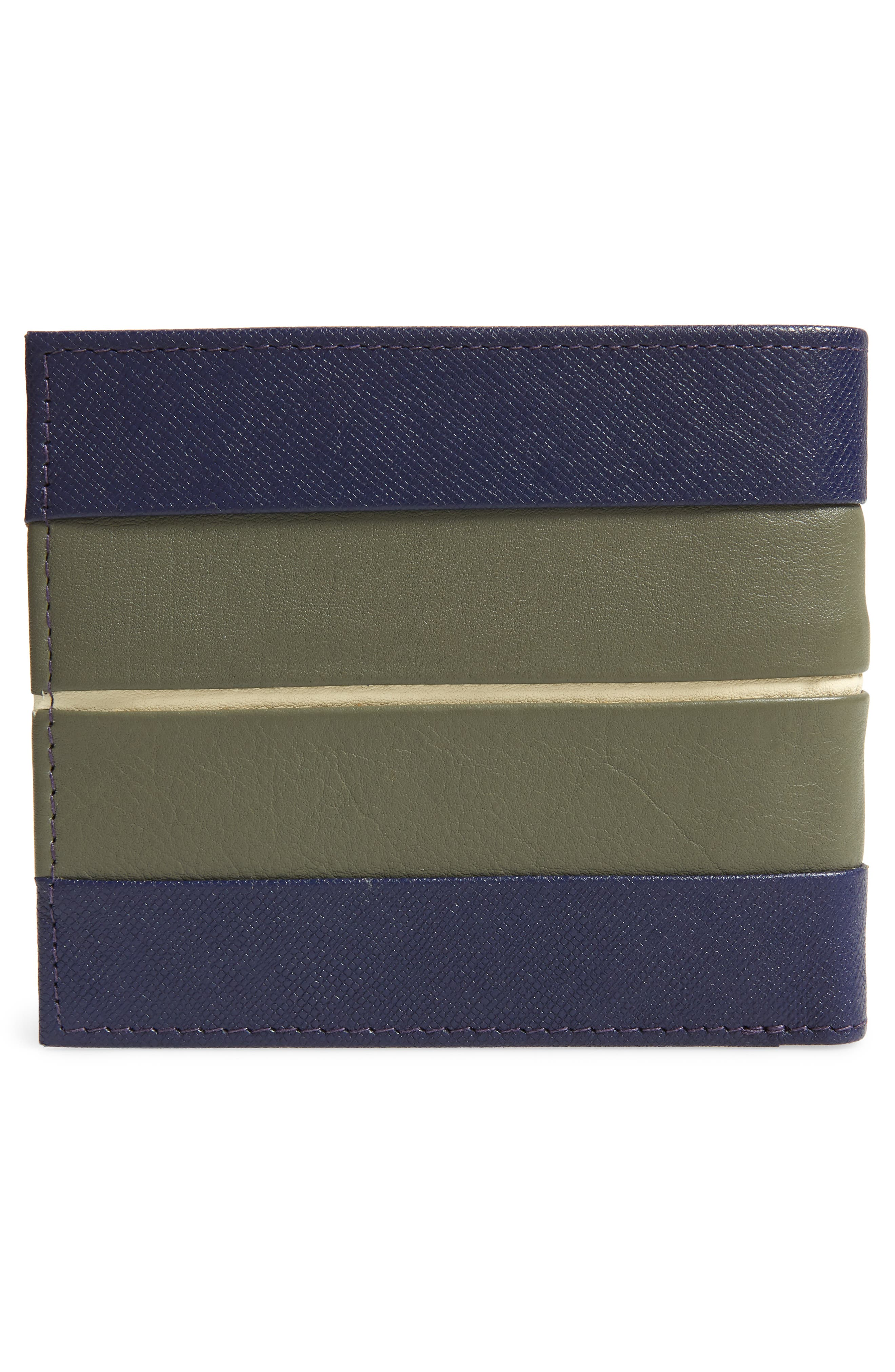 Striped Leather Bifold Wallet,                             Alternate thumbnail 3, color,                             410