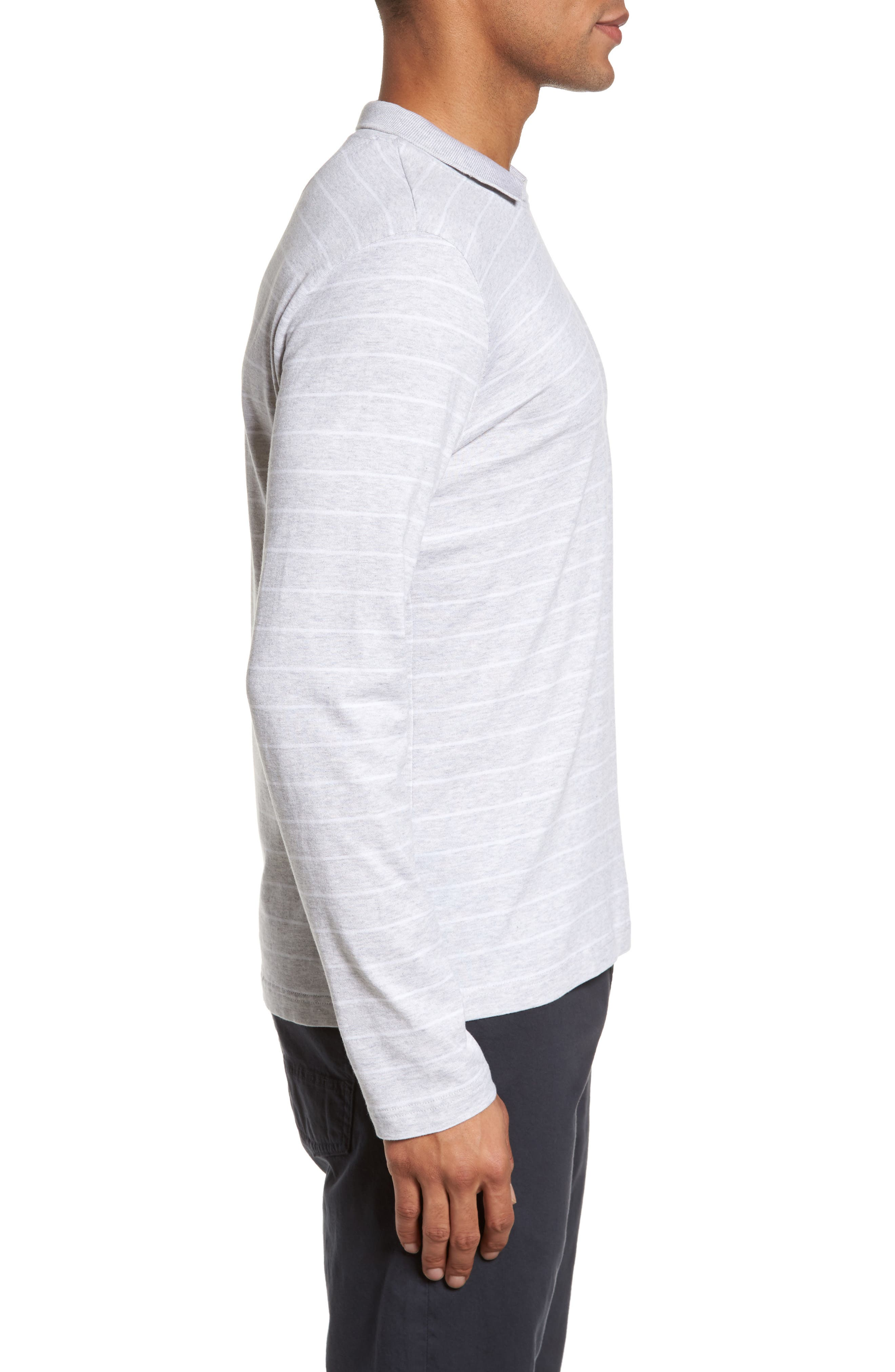 Stripe Crewneck Polo Shirt,                             Alternate thumbnail 3, color,                             020