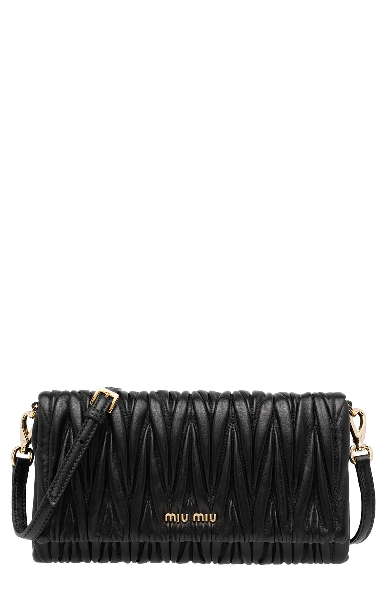 Matelassé Flap Shoulder/Crossbody Bag, Main, color, NERO