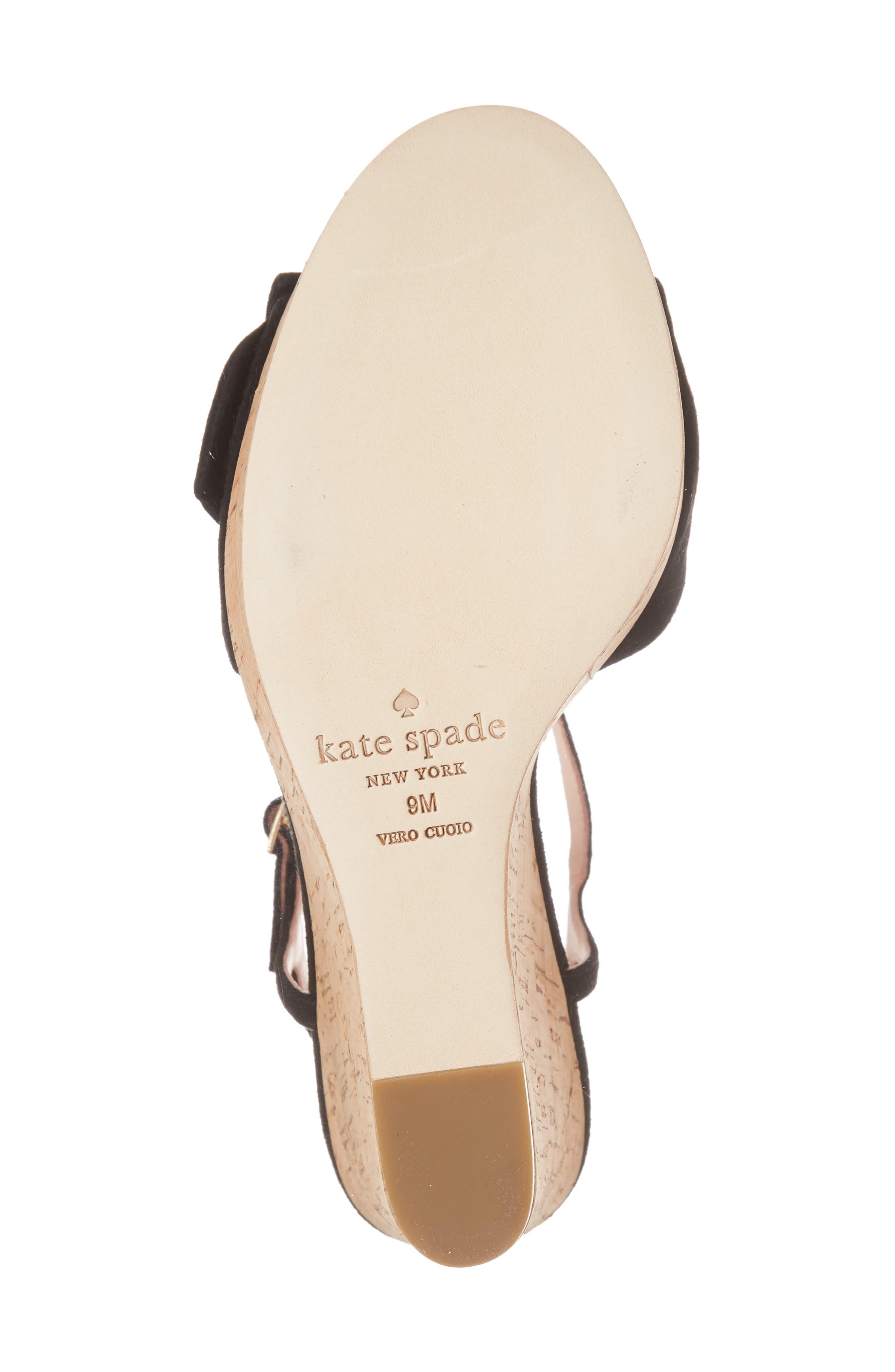 janae knot platform wedge sandal,                             Alternate thumbnail 6, color,                             001