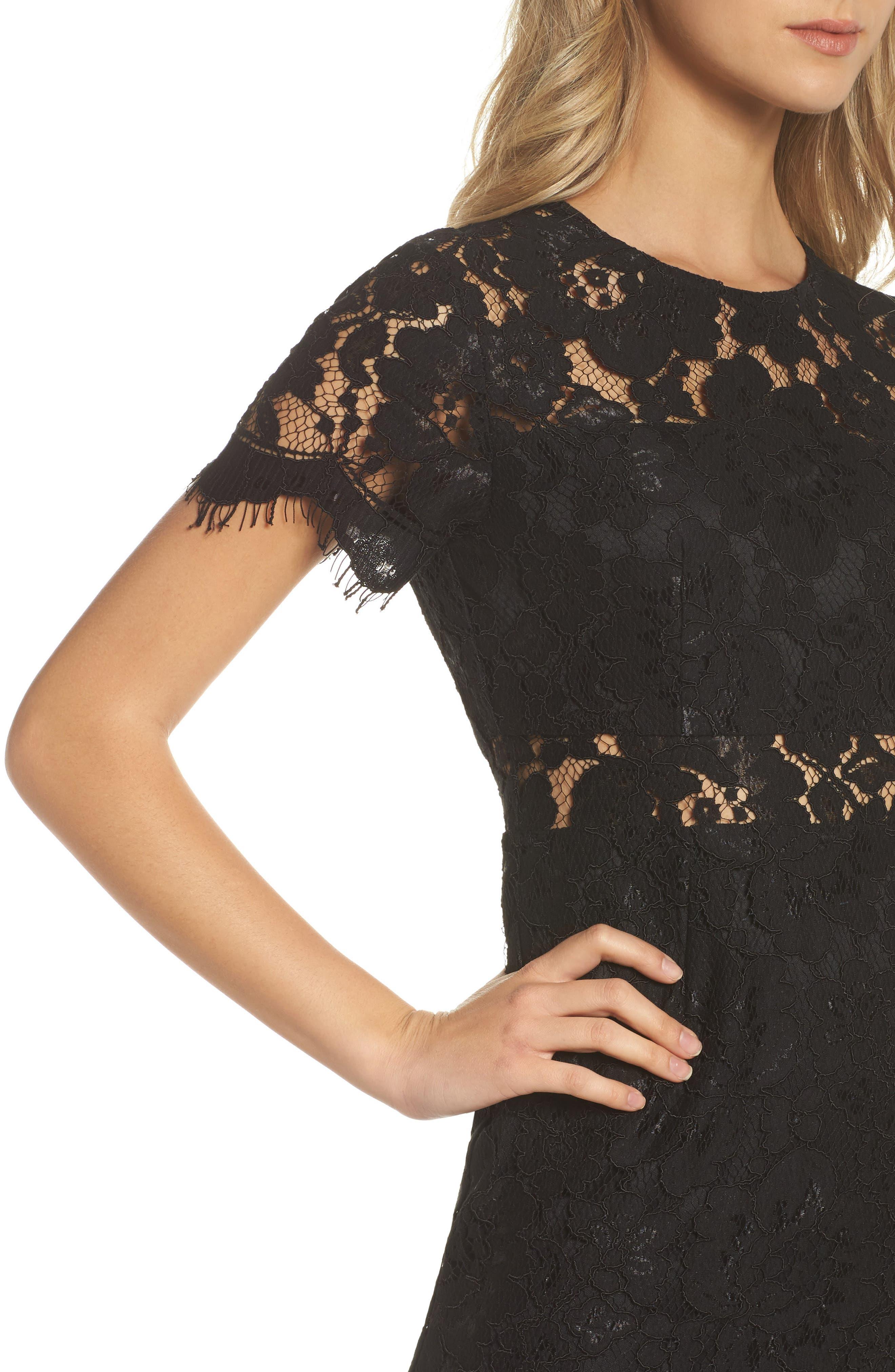 Lace Midi Dress,                             Alternate thumbnail 4, color,                             001