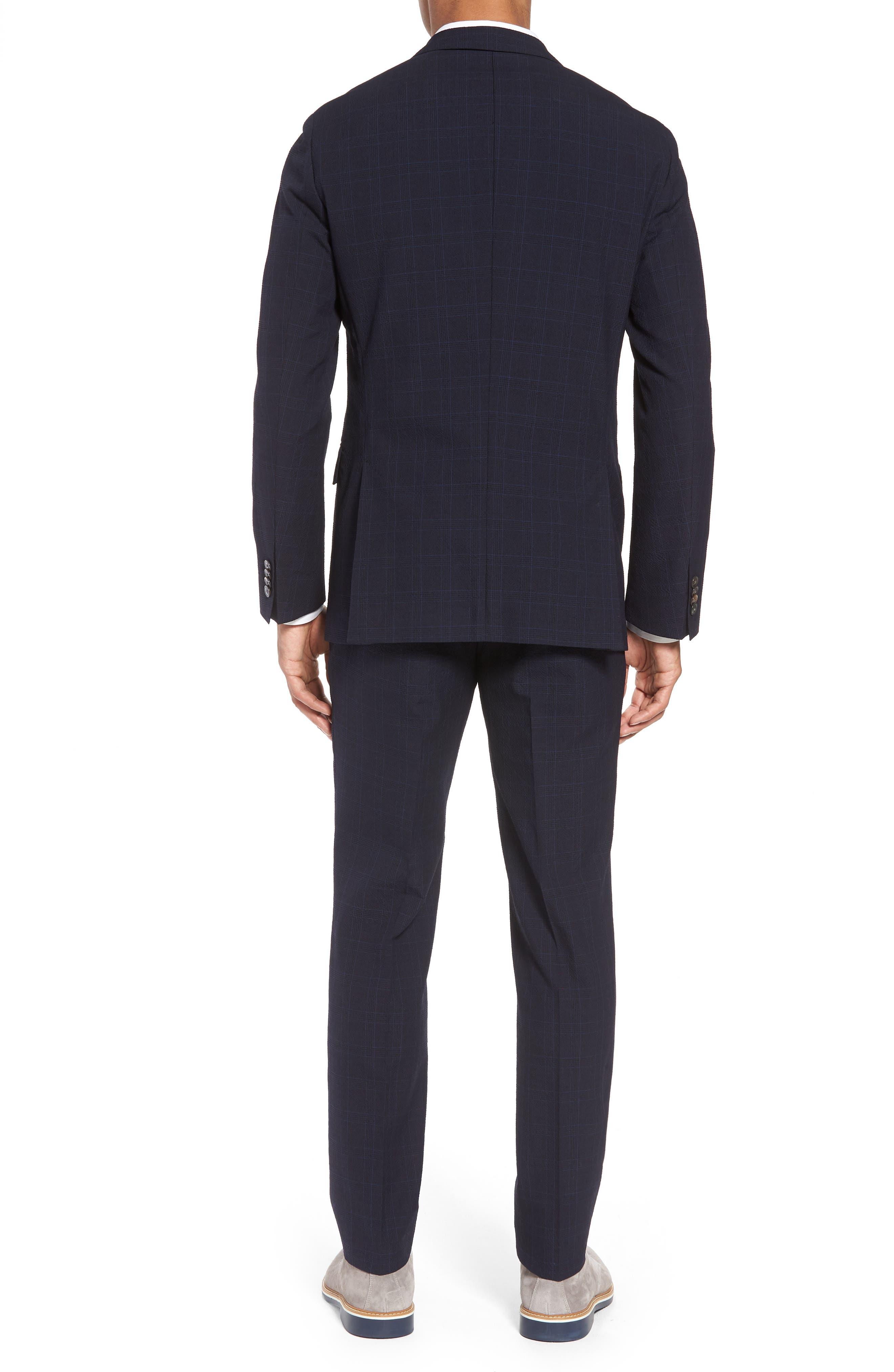 Helford/Gander Trim Fit Plaid Wool & Cotton Suit,                             Alternate thumbnail 2, color,