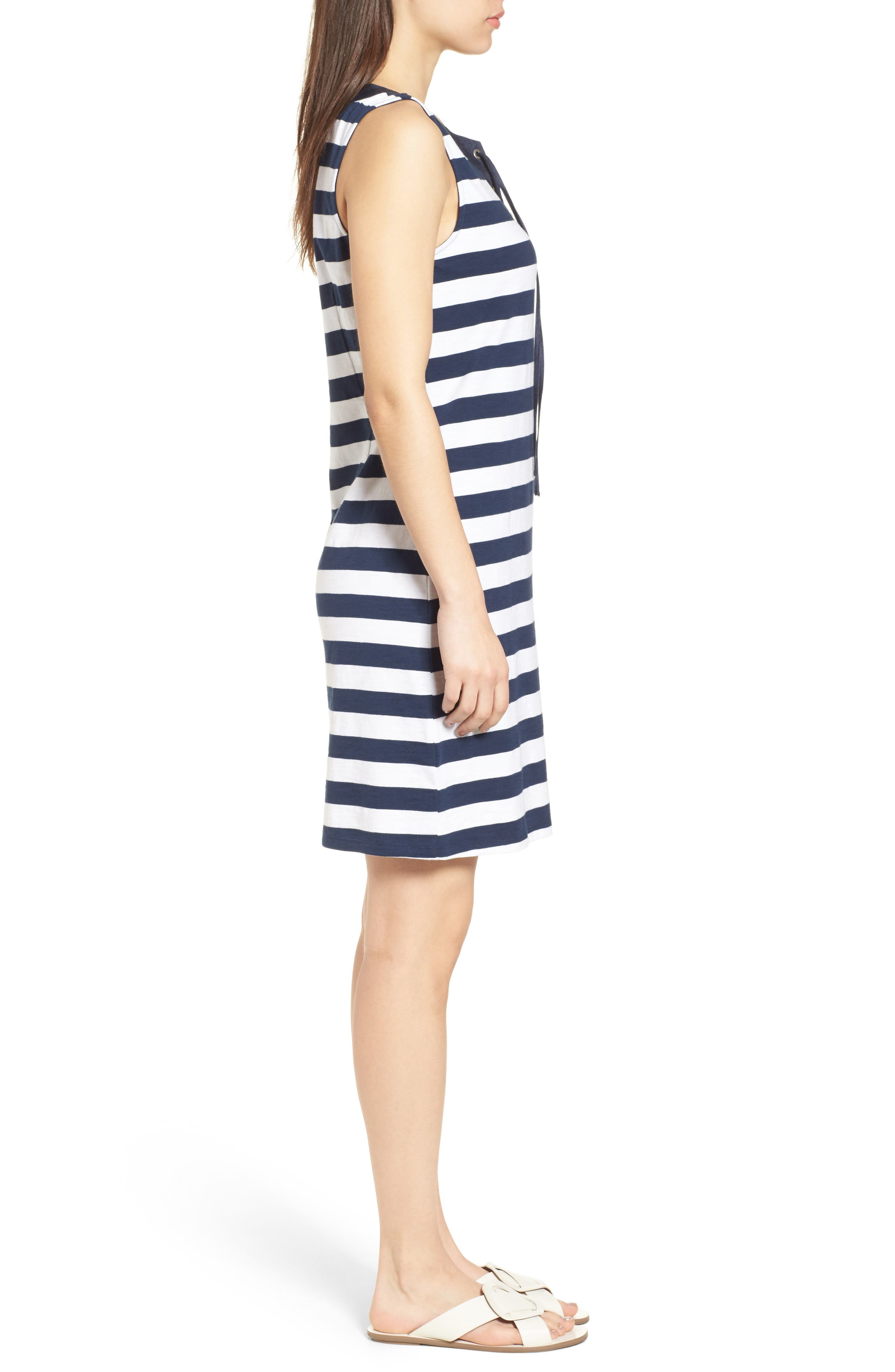 Stripe Right Lace-Up Stretch Cotton Dress,                             Alternate thumbnail 3, color,                             OCEAN DEEP
