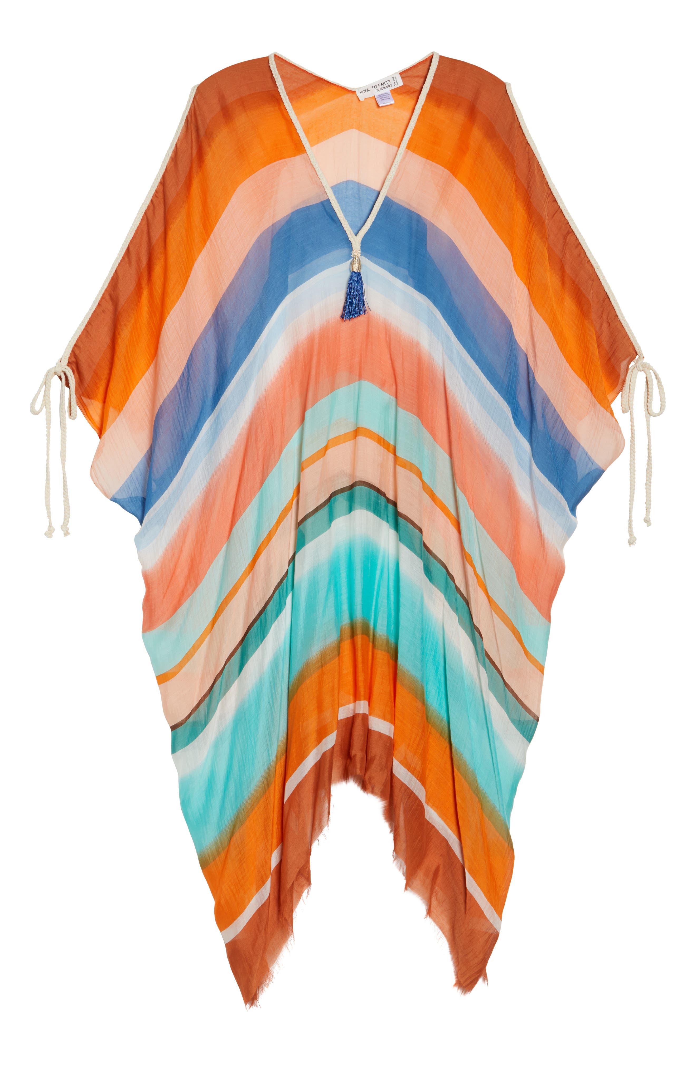 Stripe Cover-Up Caftan,                             Alternate thumbnail 6, color,                             801