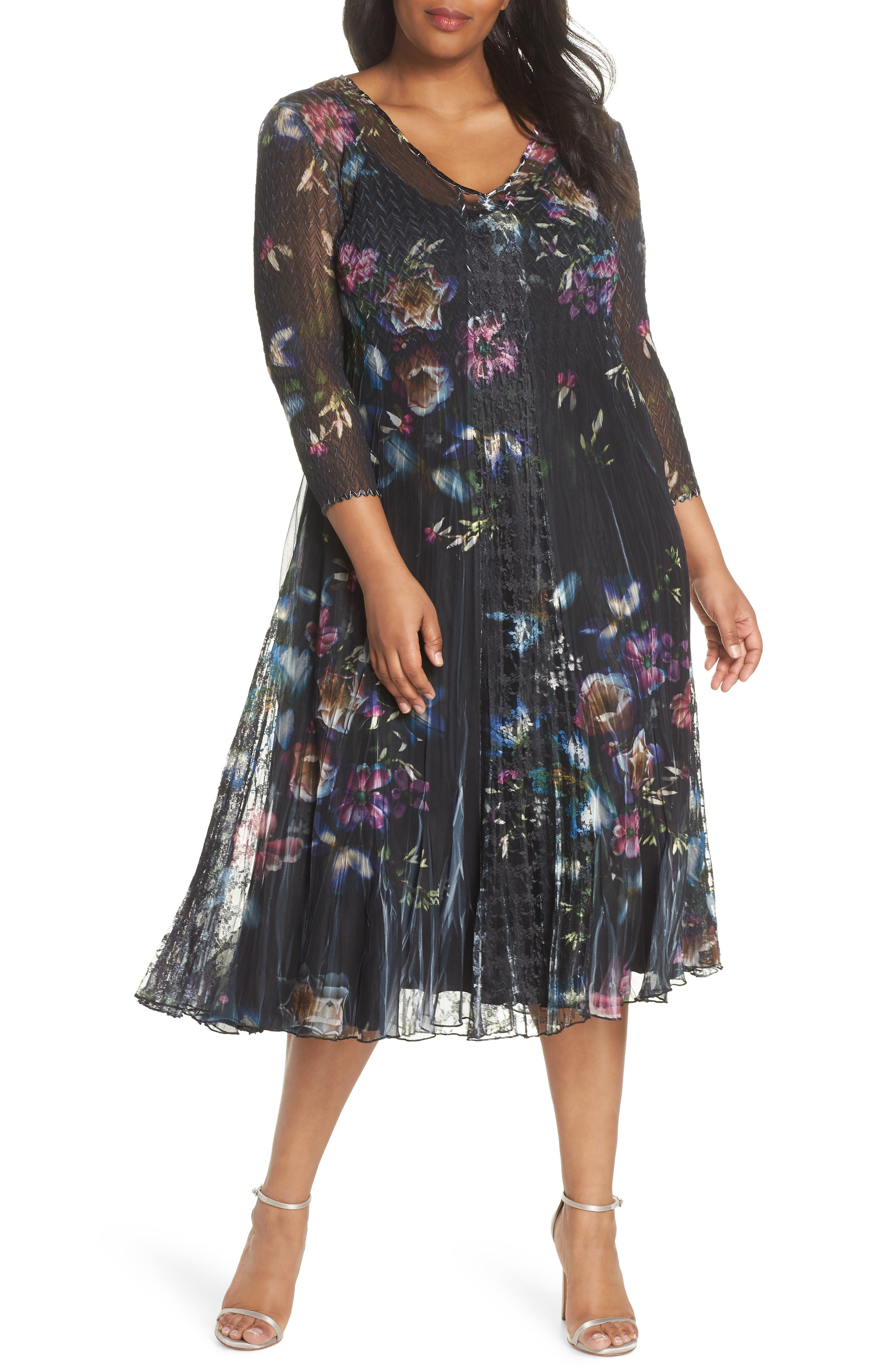 Lace Trim Floral Midi Dress,                         Main,                         color, 001