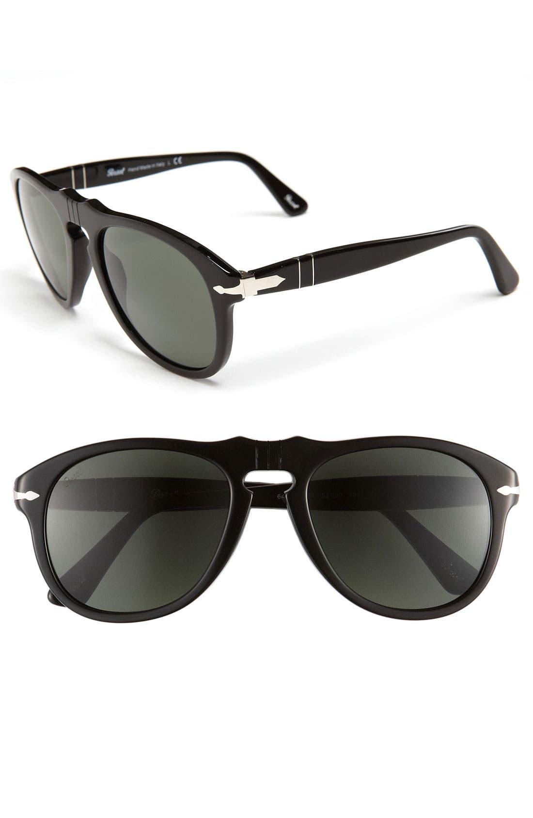 PERSOL,                             '649' Retro 52mm Keyhole Sunglasses,                             Main thumbnail 1, color,                             001