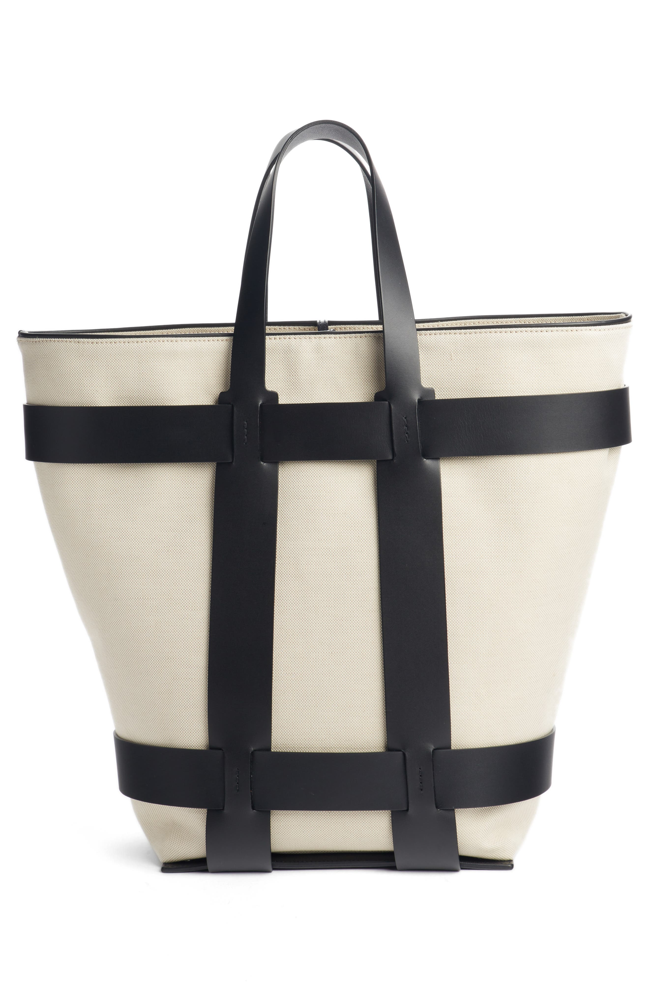PACO RABANNE,                             Cage Leather & Canvas North/South Tote,                             Alternate thumbnail 3, color,                             IVORY/ BLACK