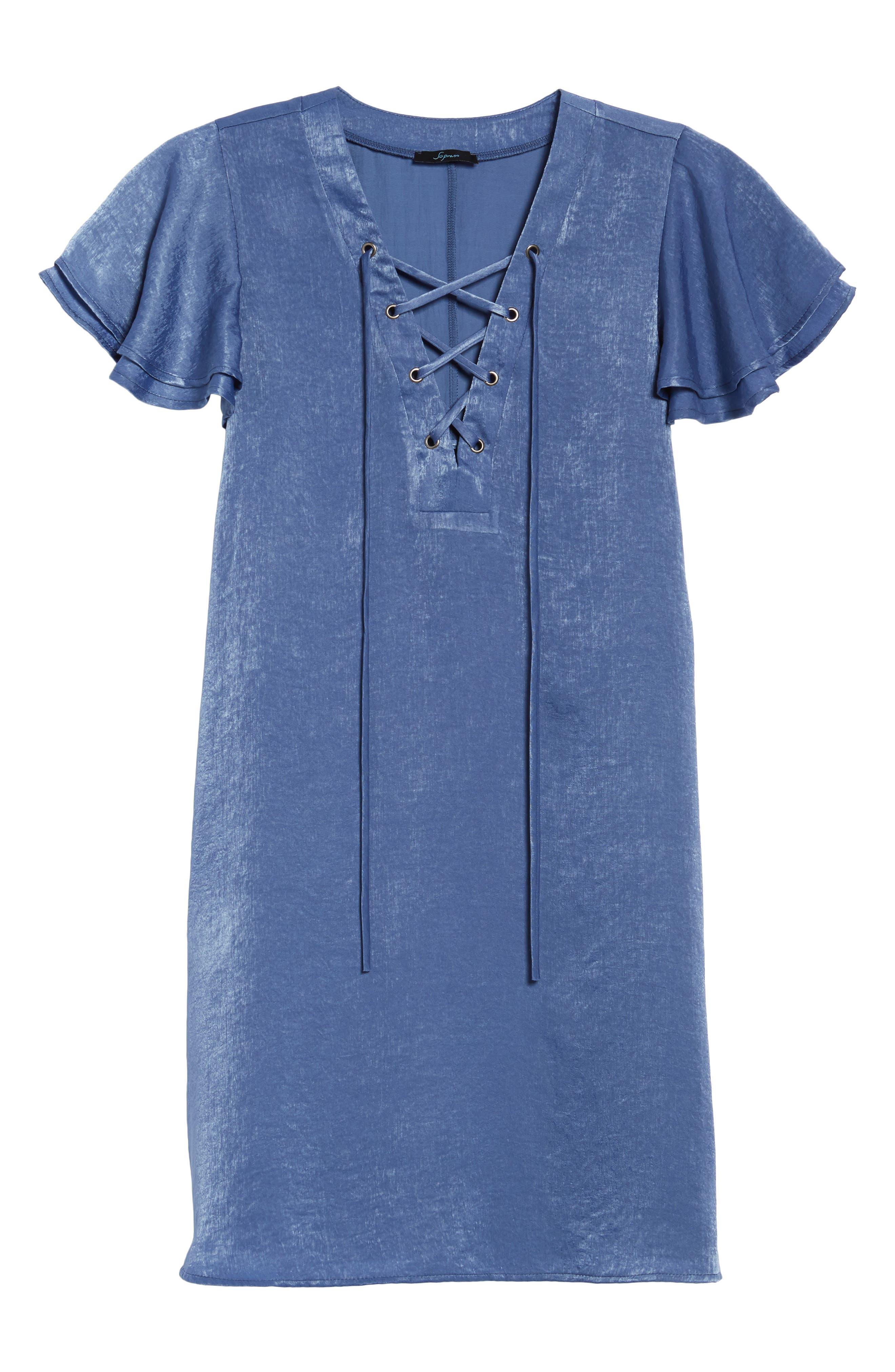 Lace-Up Shift Dress,                             Alternate thumbnail 6, color,