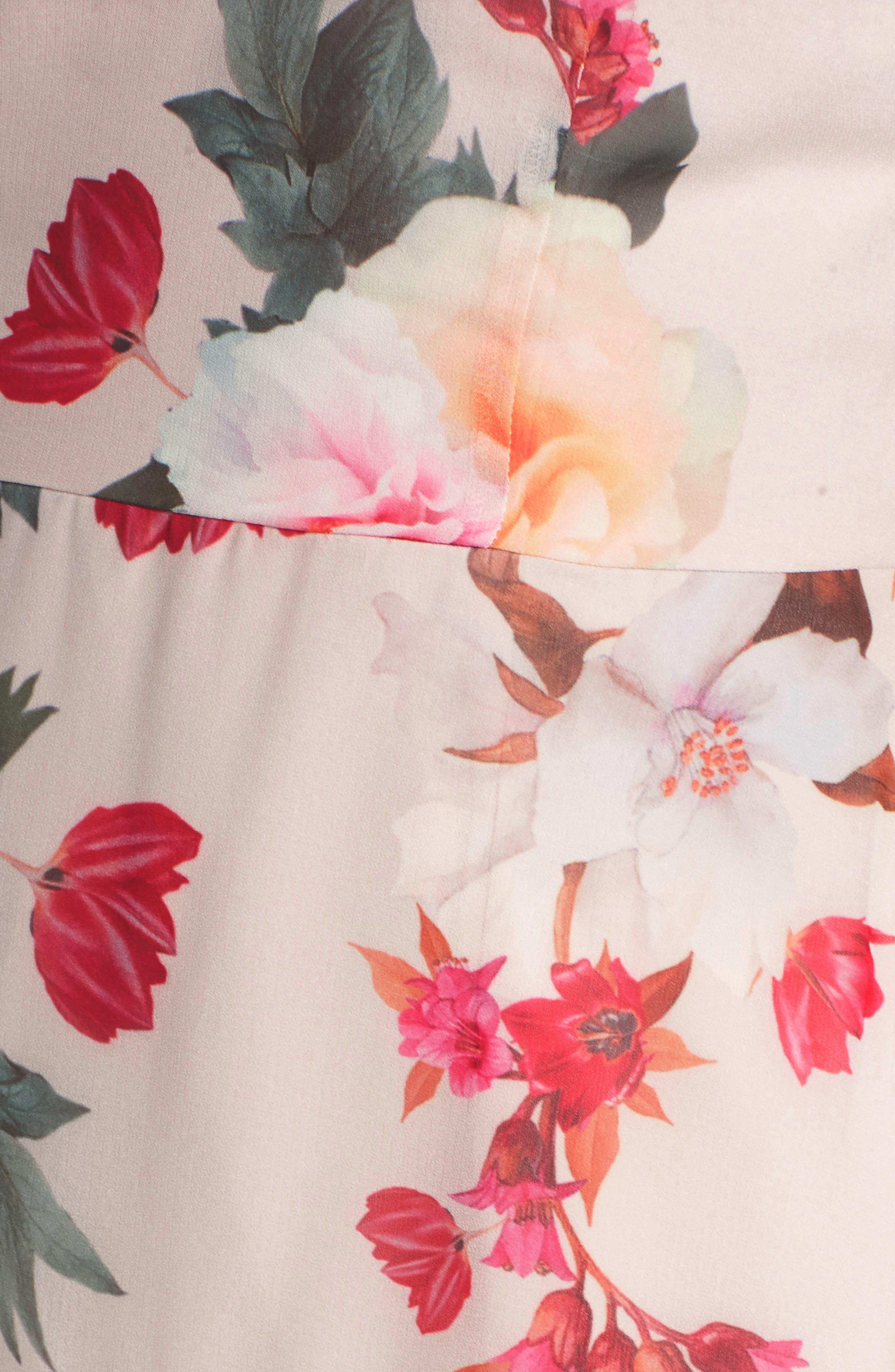 Rosa Floral Chiffon Dress,                             Alternate thumbnail 7, color,                             266