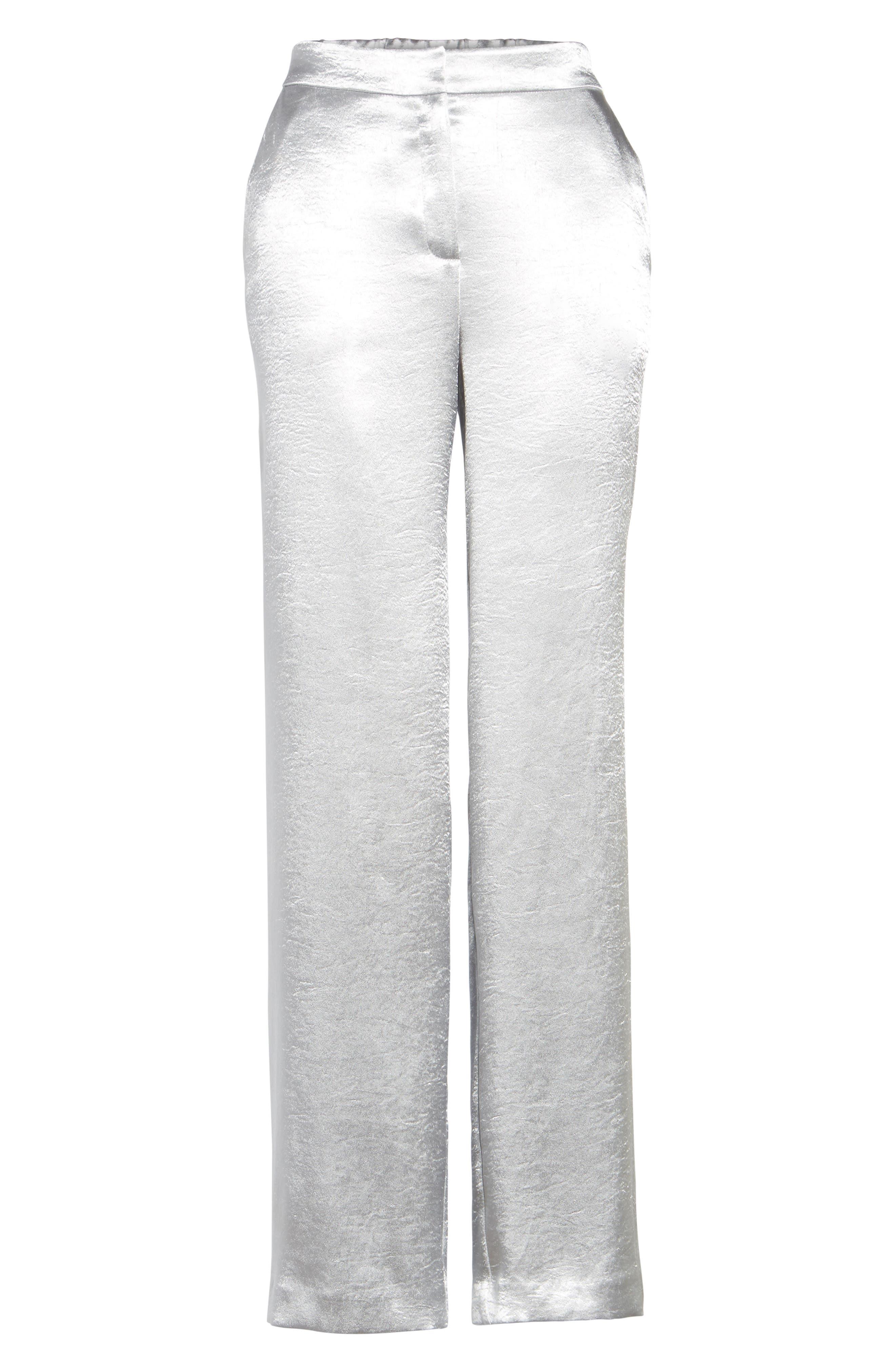 Wide Leg Hammered Satin Pants,                             Alternate thumbnail 6, color,                             045