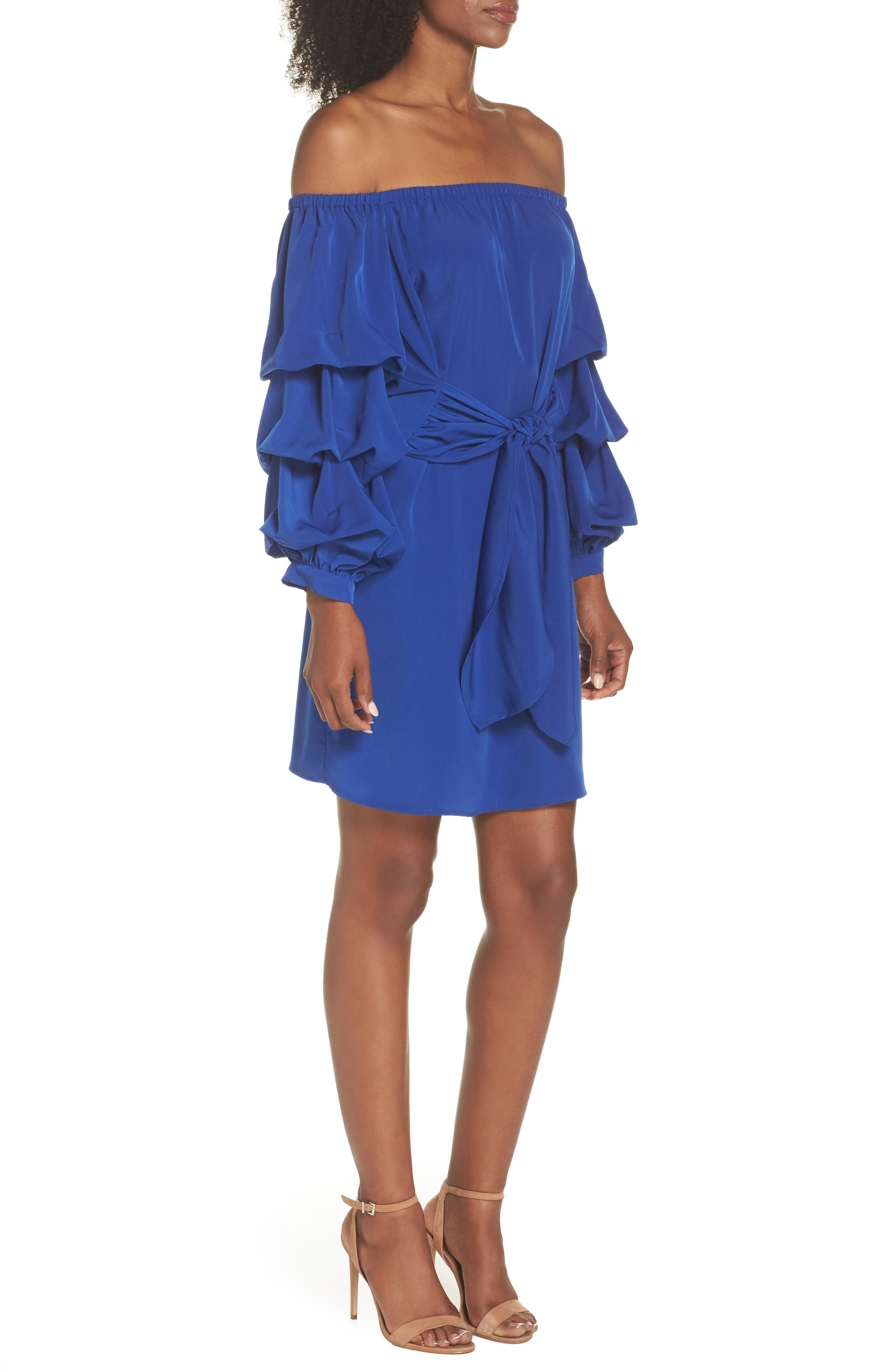 Off the Shoulder Tiered Sleeve Dress,                             Alternate thumbnail 8, color,